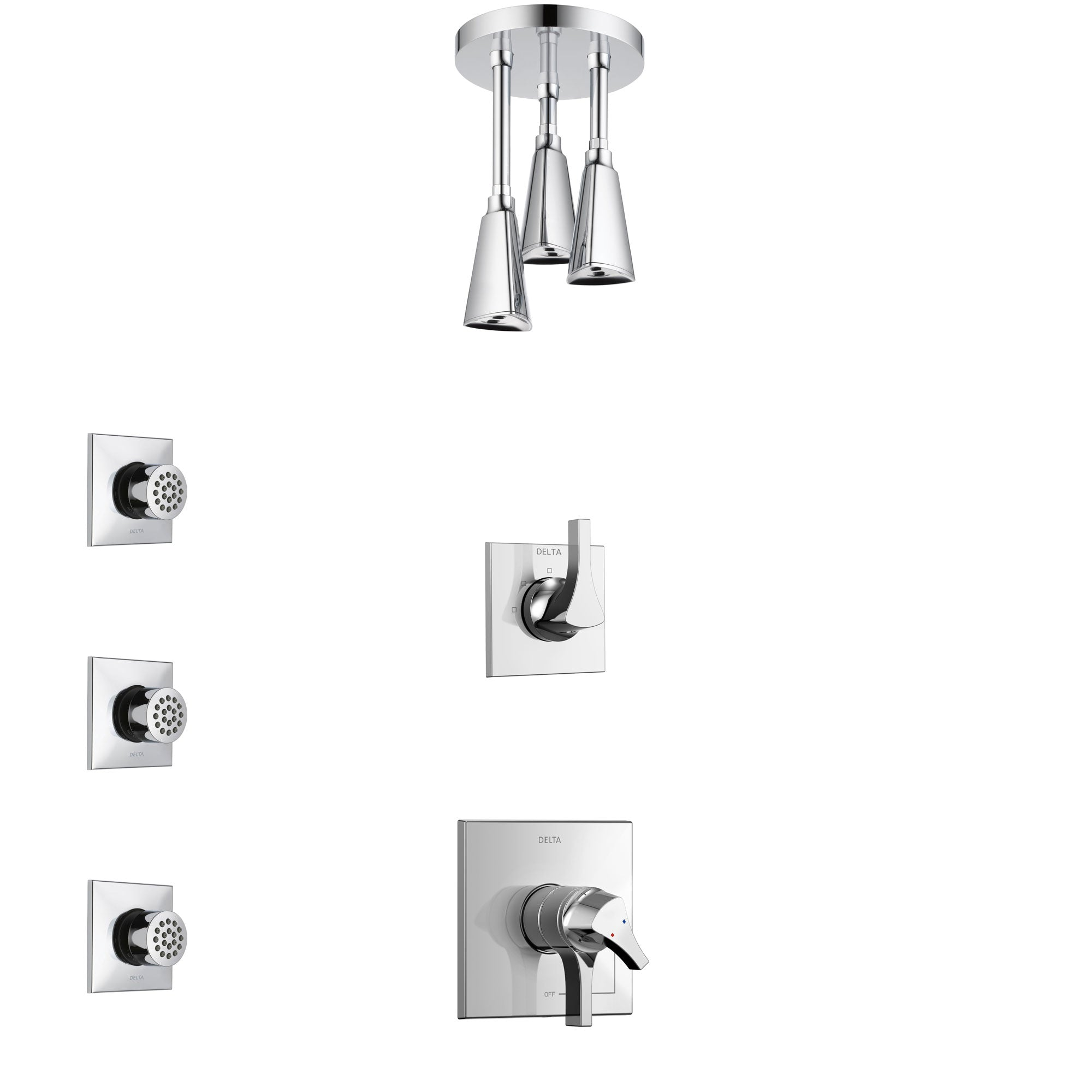 Delta Zura Chrome Finish Shower System with Dual Control Handle, 3-Setting Diverter, Ceiling Mount Showerhead, and 3 Body Sprays SS17744