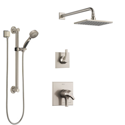 Delta Zura Stainless Steel Finish Shower System with Dual Control Handle, 3-Setting Diverter, Showerhead, and Hand Shower with Grab Bar SS1774SS1