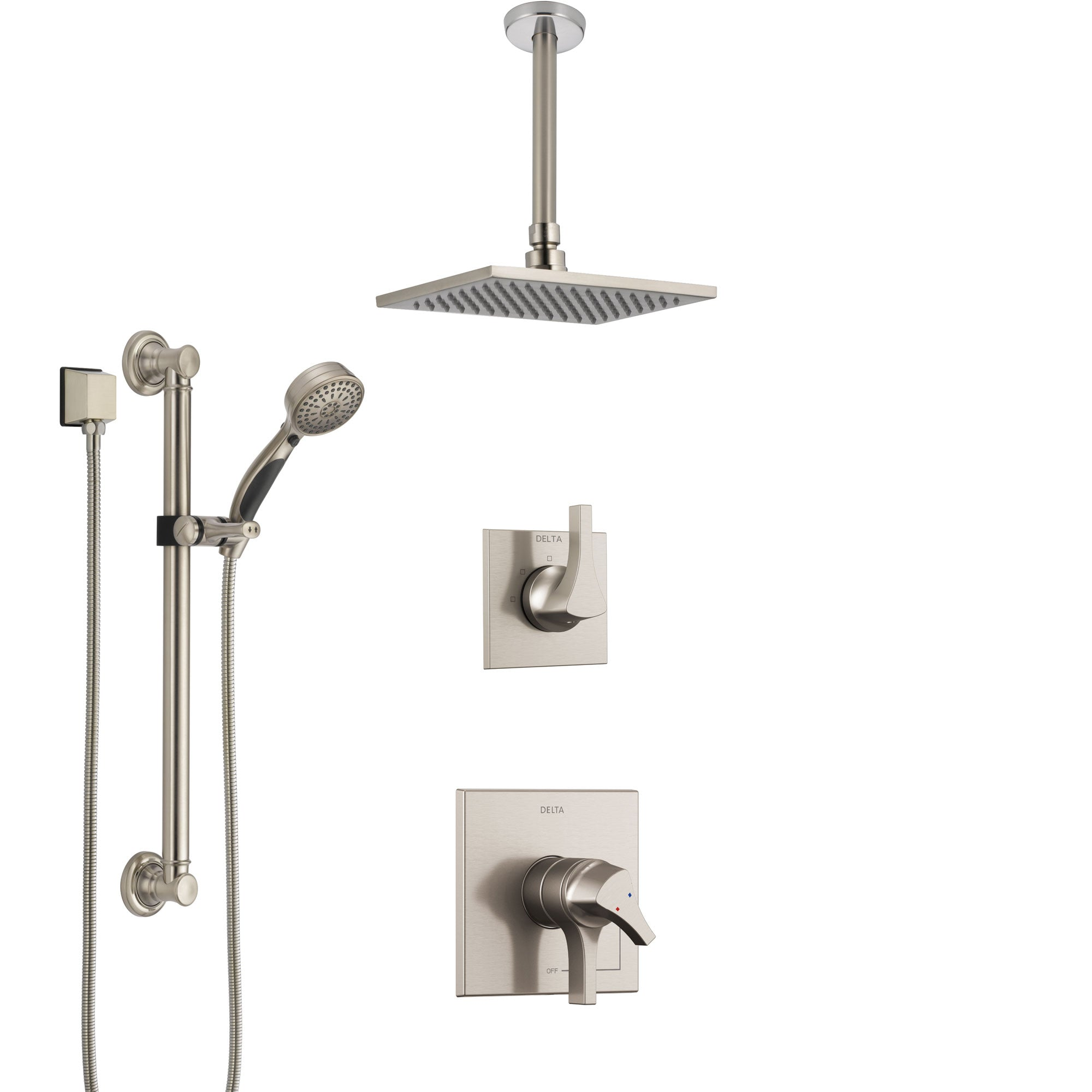 Delta Zura Stainless Steel Finish Shower System with Dual Control Handle, Diverter, Ceiling Mount Showerhead, and Hand Shower with Grab Bar SS1774SS4