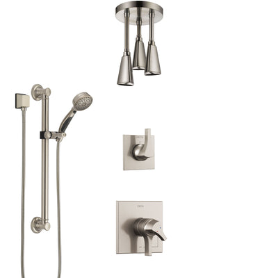 Delta Zura Stainless Steel Finish Shower System with Dual Control Handle, Diverter, Ceiling Mount Showerhead, and Hand Shower with Grab Bar SS1774SS5