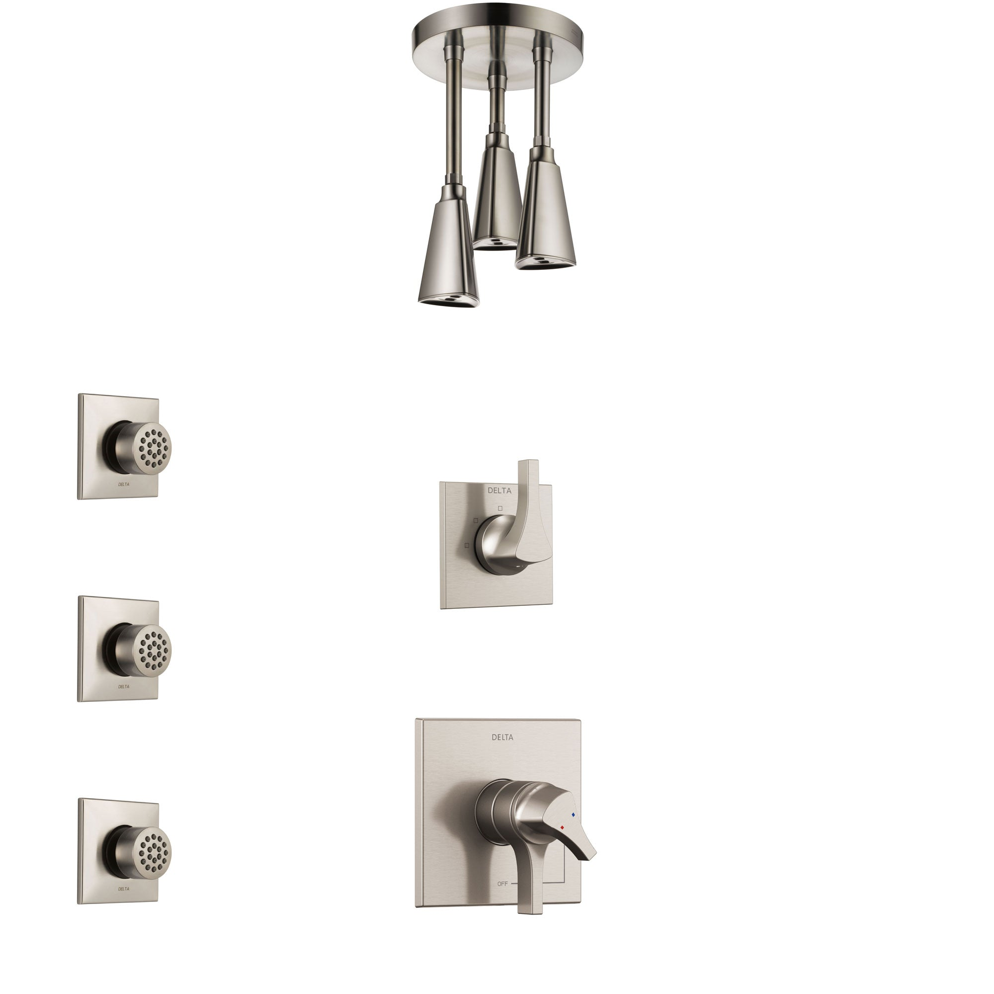 Delta Zura Stainless Steel Finish Shower System with Dual Control Handle, 3-Setting Diverter, Ceiling Mount Showerhead, and 3 Body Sprays SS1774SS6