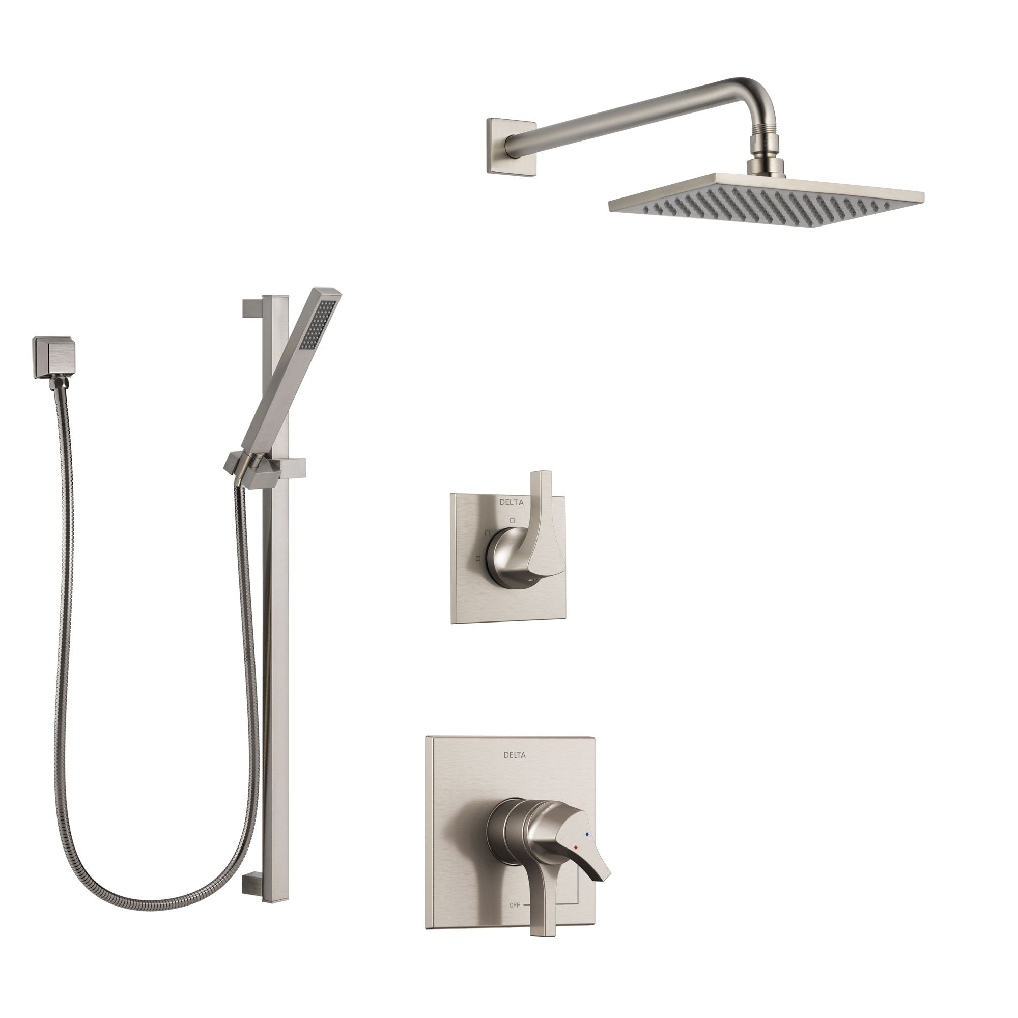 Delta Zura Stainless Steel Finish Shower System with Dual Control Handle, 3-Setting Diverter, Showerhead, and Hand Shower with Slidebar SS1774SS8