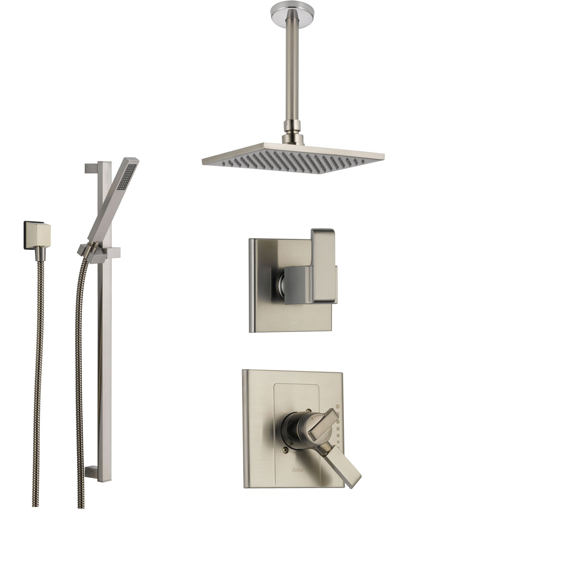 Merveilleux Delta Arzo Stainless Steel Shower System With Dual Control Shower Handle,  3 Setting Diverter