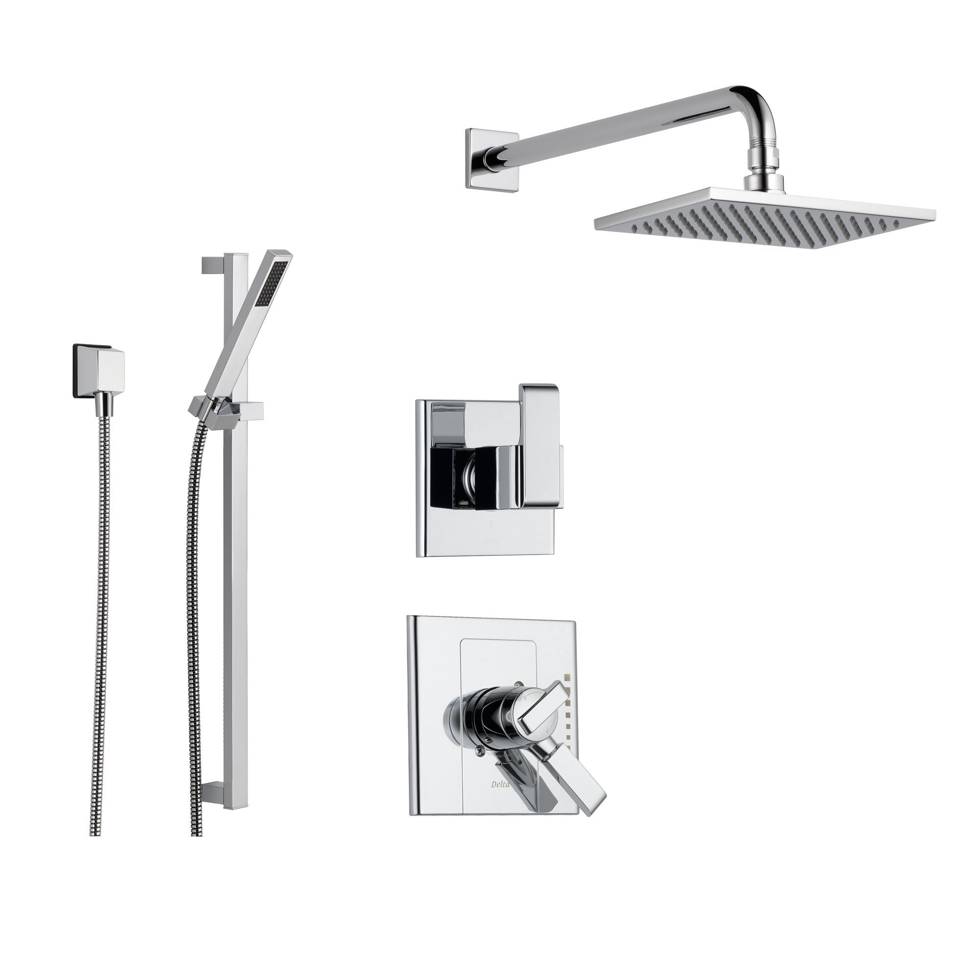 Delta Arzo Chrome Shower System with Dual Control Shower Handle, 3 ...