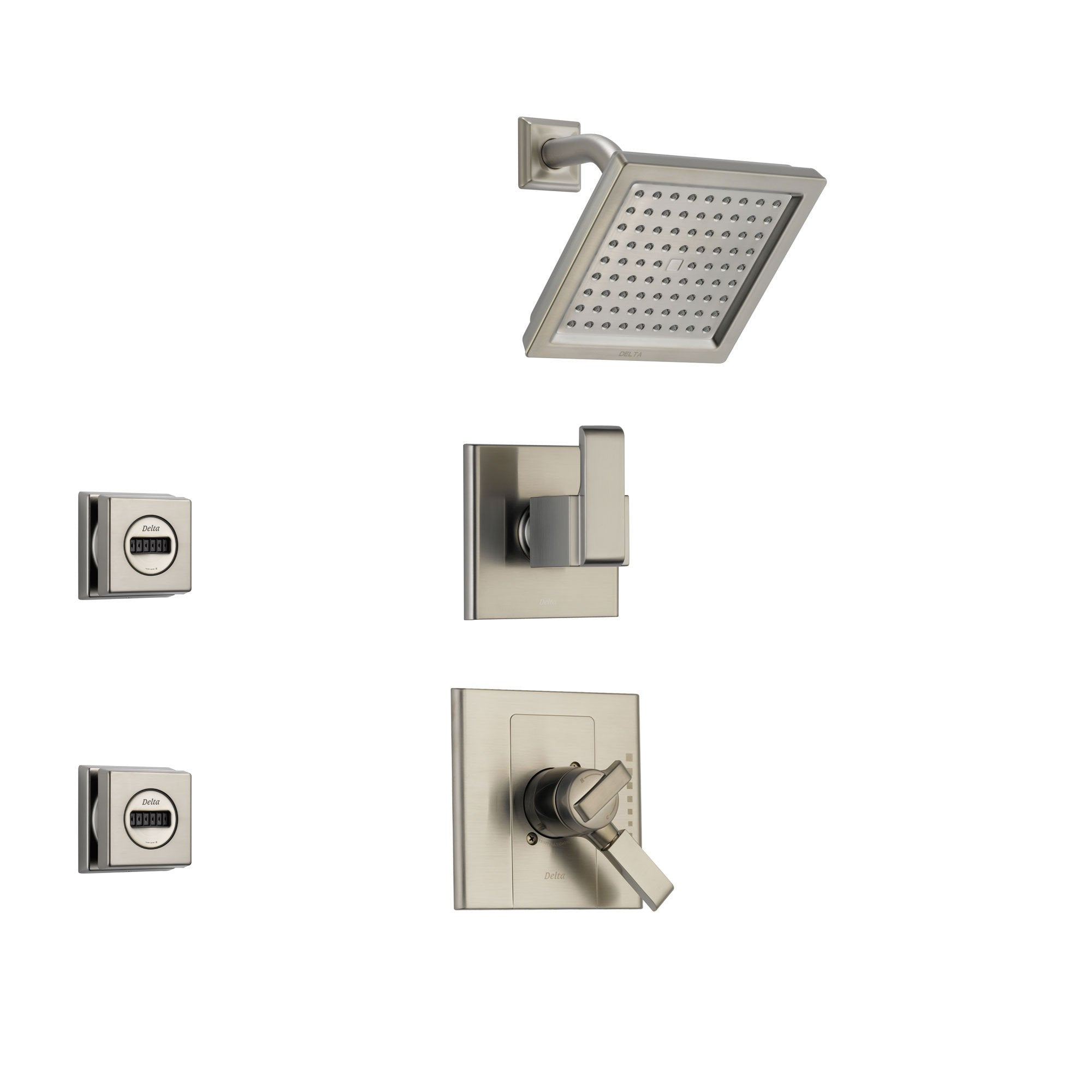 Delta Arzo Stainless Steel Shower System with Dual Control Shower Handle, 3-setting Diverter, Square Showerhead, and 2 Modern Body Sprays SS178685SS