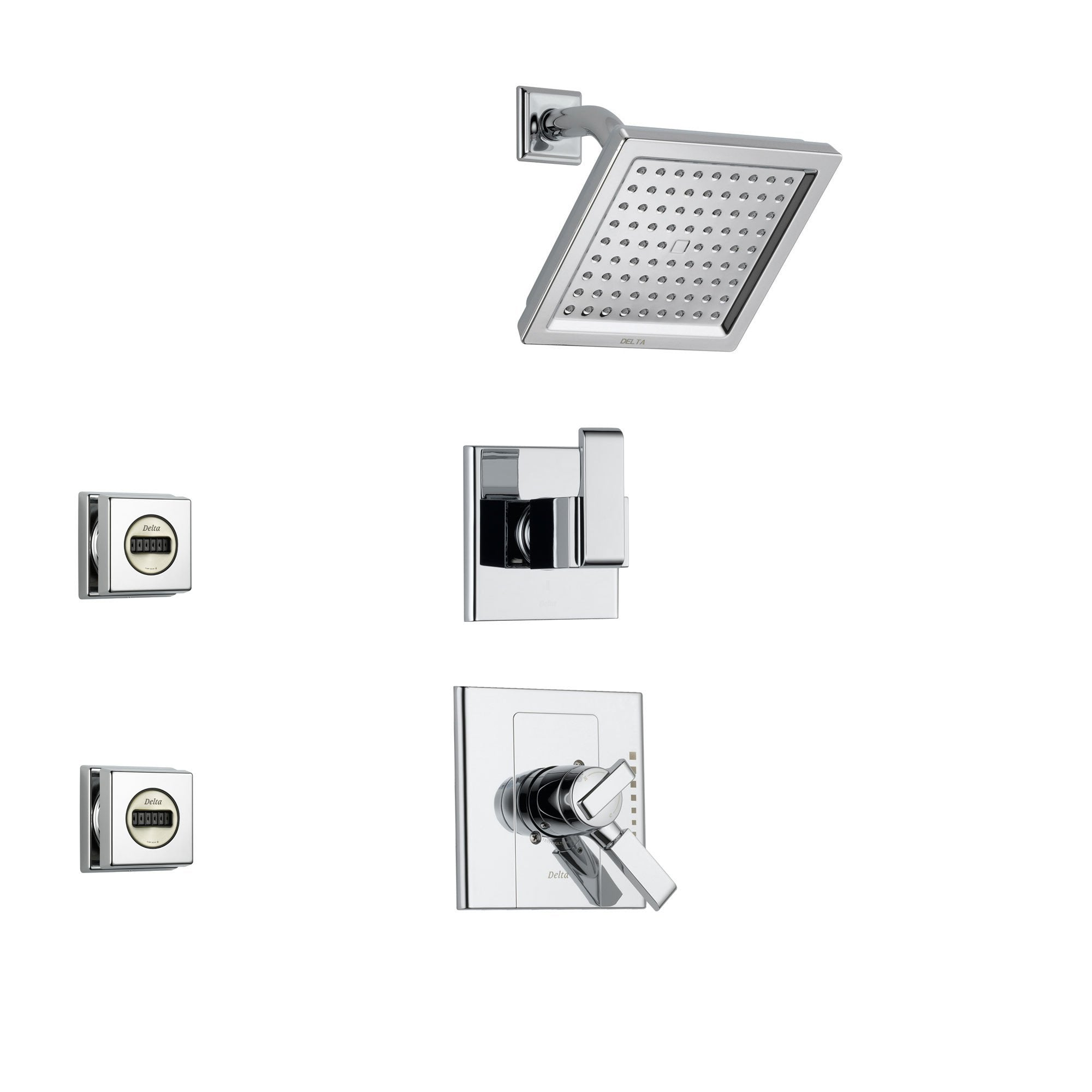 Delta Arzo Chrome Shower System with Dual Control Shower Handle, 3-setting Diverter, Modern Square Showerhead, and 2 Body Sprays SS178685
