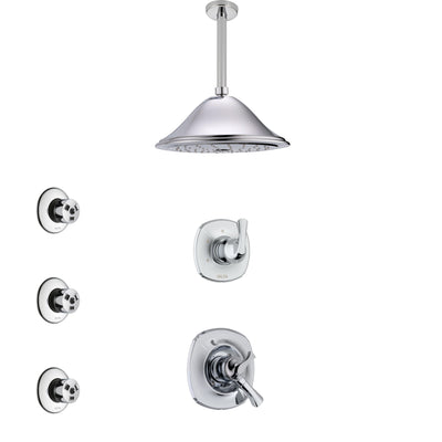 Delta Addison Chrome Finish Shower System with Dual Control Handle, 3-Setting Diverter, Ceiling Mount Showerhead, and 3 Body Sprays SS17922