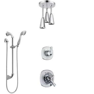 Delta Addison Chrome Finish Shower System with Dual Control Handle, Diverter, Ceiling Mount Showerhead, and Hand Shower with Slidebar SS17925