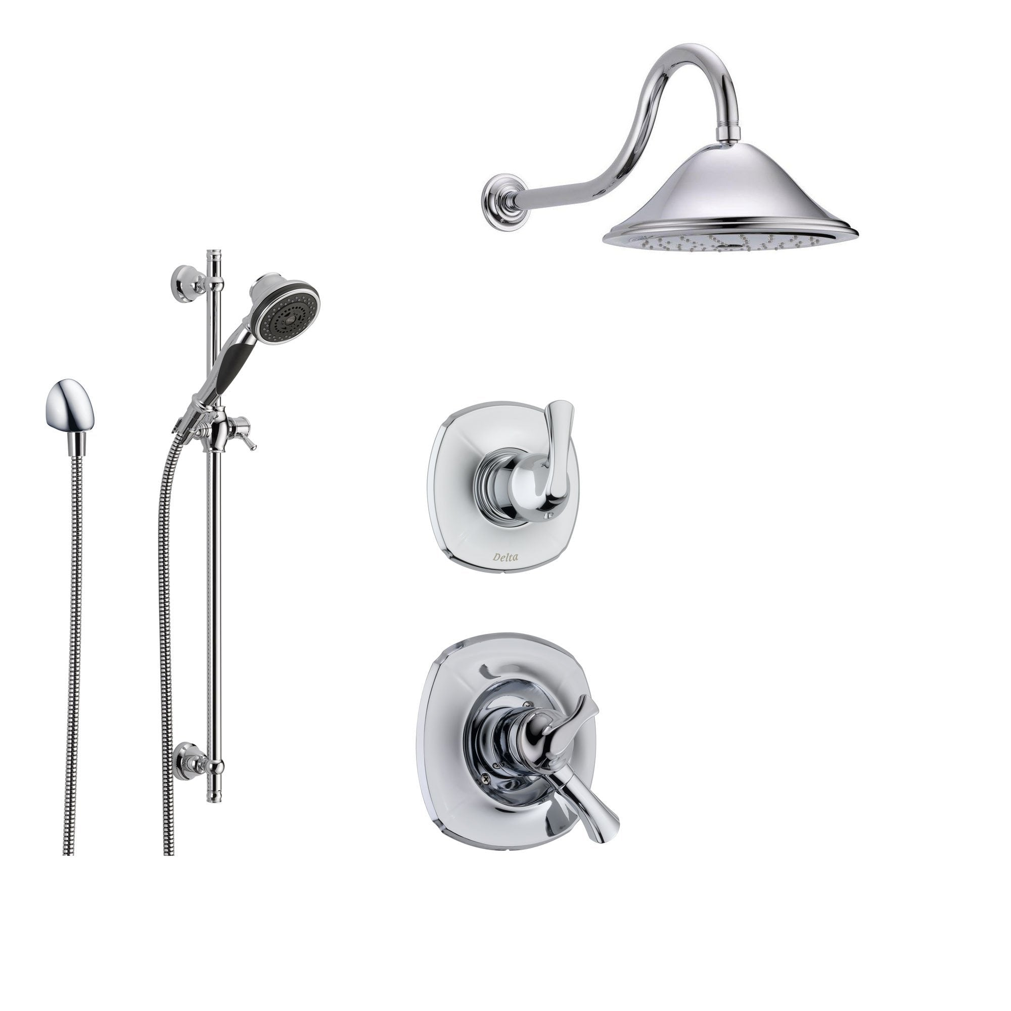 Delta Addison Chrome Shower System with Dual Control Shower Handle, 3-setting Diverter, Large Rain Showerhead, and Handheld Shower SS179281