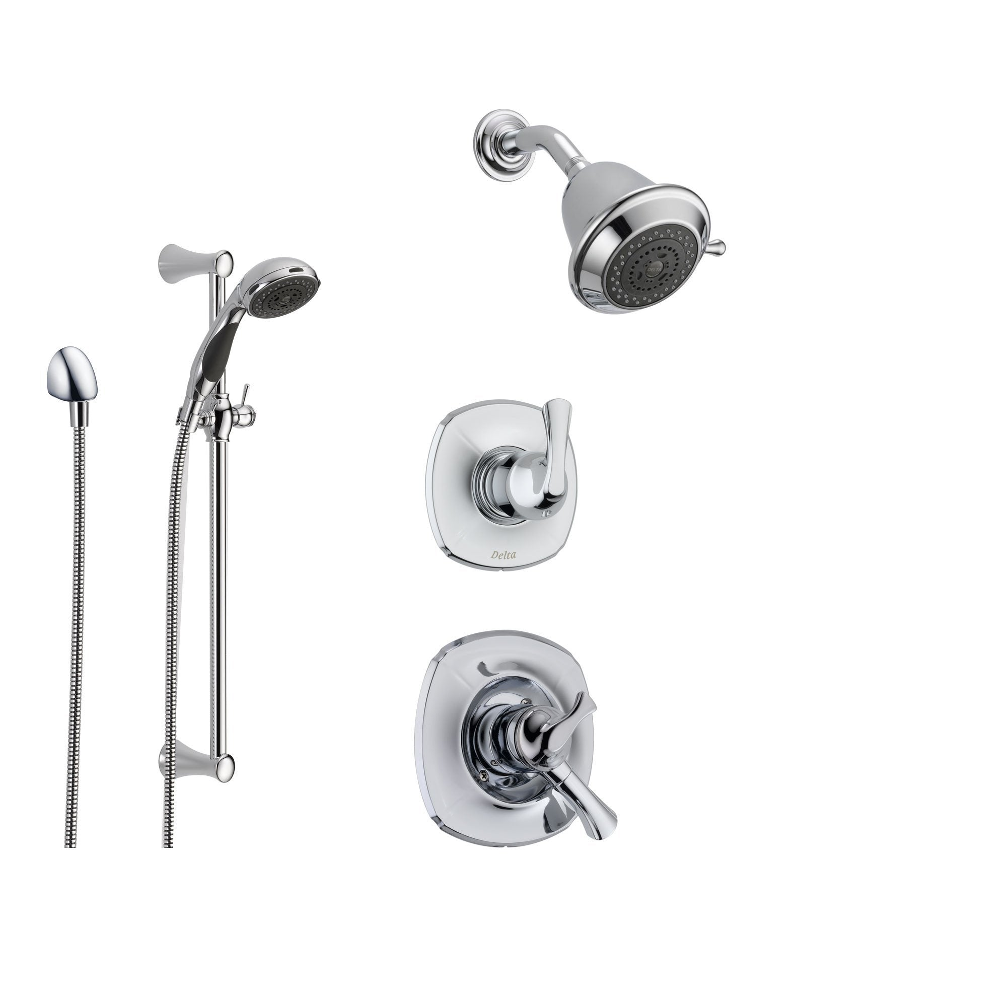 Delta Addison Chrome Shower System with Dual Control Shower Handle, 3-setting Diverter, Showerhead, and Handheld Shower SS179284