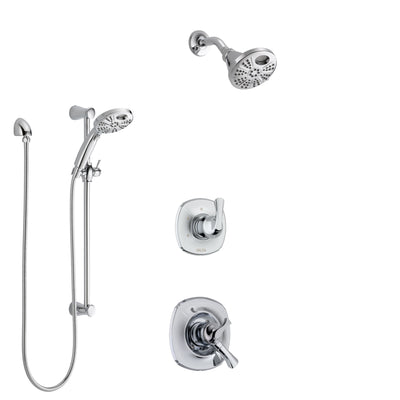 Delta Addison Chrome Finish Shower System with Dual Control Handle, 3-Setting Diverter, Temp2O Showerhead, and Hand Shower with Slidebar SS17928