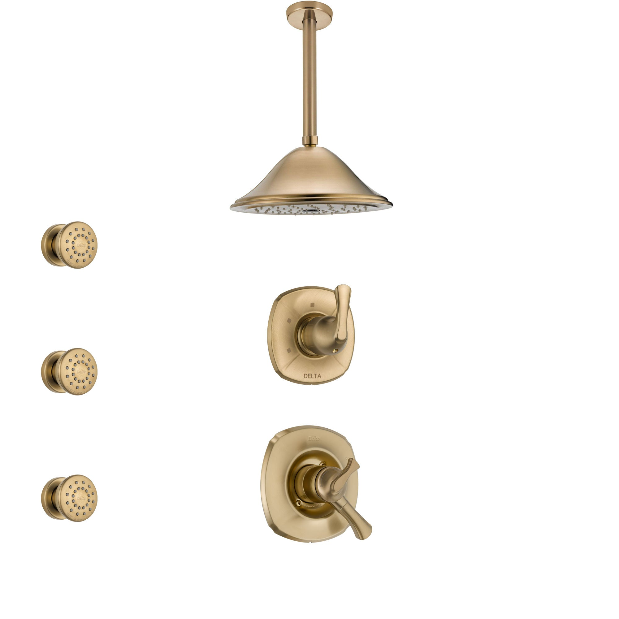 Delta Addison Champagne Bronze Shower System with Dual Control Handle, 3-Setting Diverter, Ceiling Mount Showerhead, and 3 Body Sprays SS1792CZ2