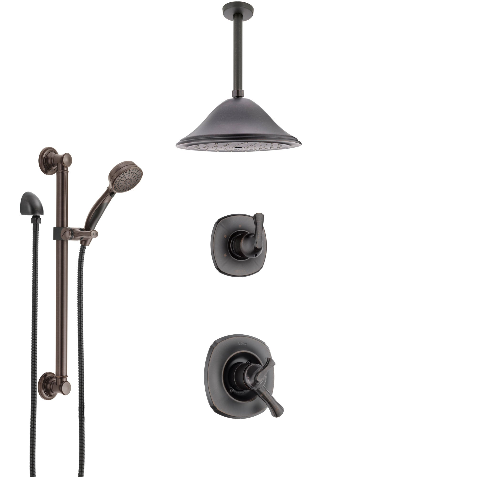 Delta Addison Venetian Bronze Shower System with Dual Control Handle, Diverter, Ceiling Mount Showerhead, and Hand Shower with Grab Bar SS1792RB4