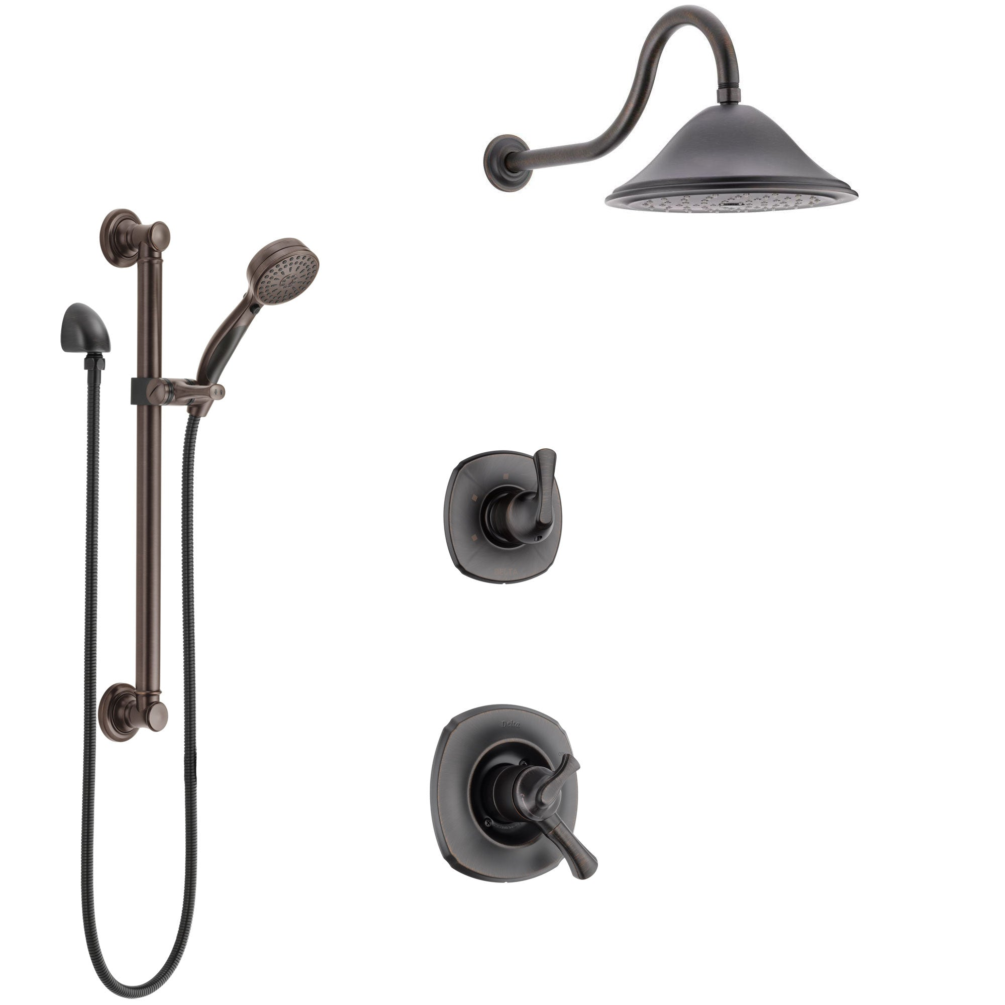 Delta Addison Venetian Bronze Finish Shower System with Dual Control Handle, 3-Setting Diverter, Showerhead, and Hand Shower with Grab Bar SS1792RB5