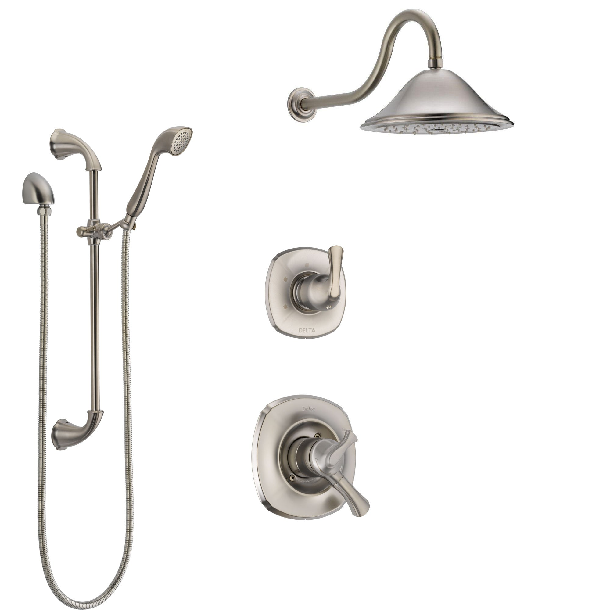 Delta Addison Stainless Steel Finish Shower System with Dual Control Handle, 3-Setting Diverter, Showerhead, and Hand Shower with Slidebar SS1792SS1