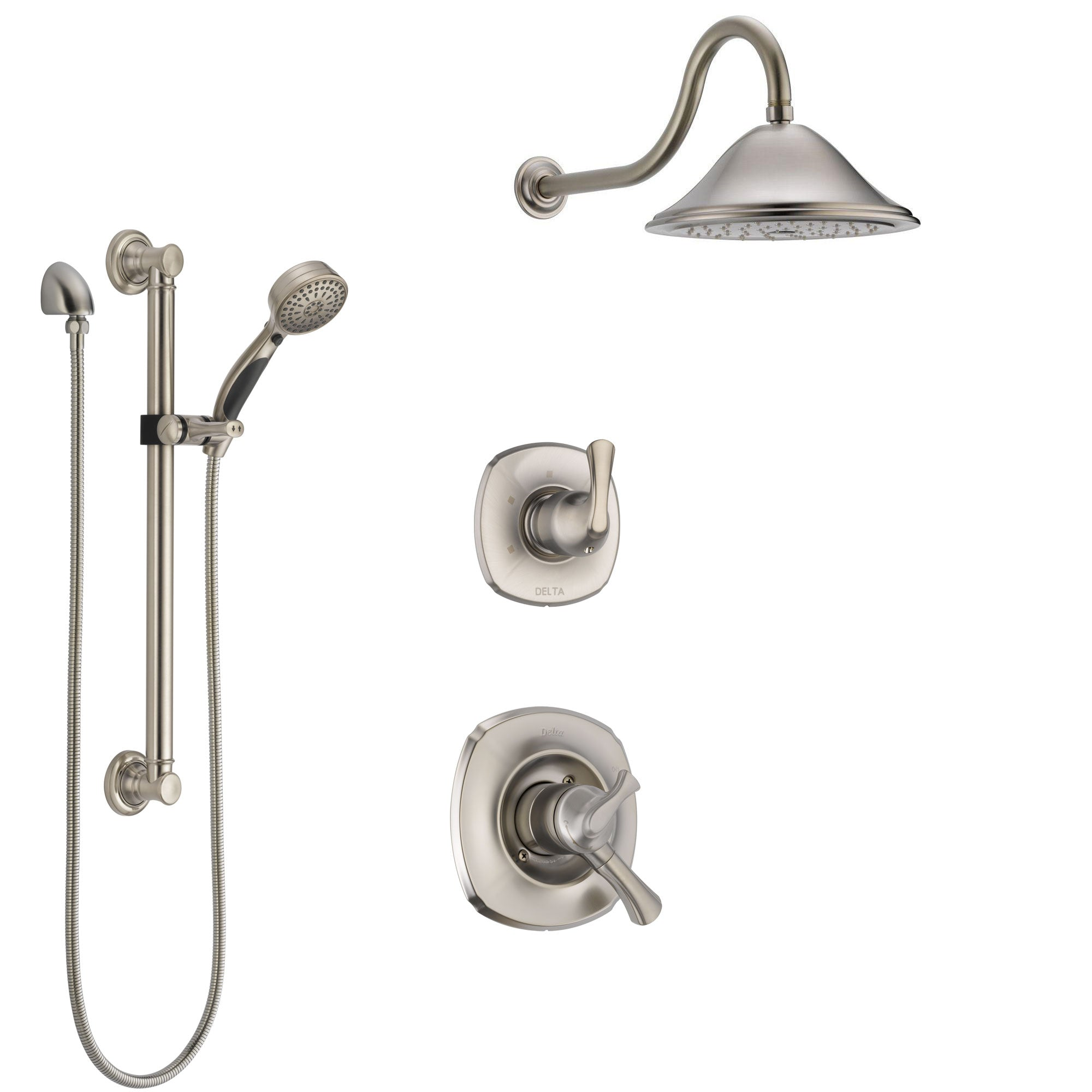 Delta Addison Stainless Steel Finish Shower System with Dual Control Handle, 3-Setting Diverter, Showerhead, and Hand Shower with Grab Bar SS1792SS2