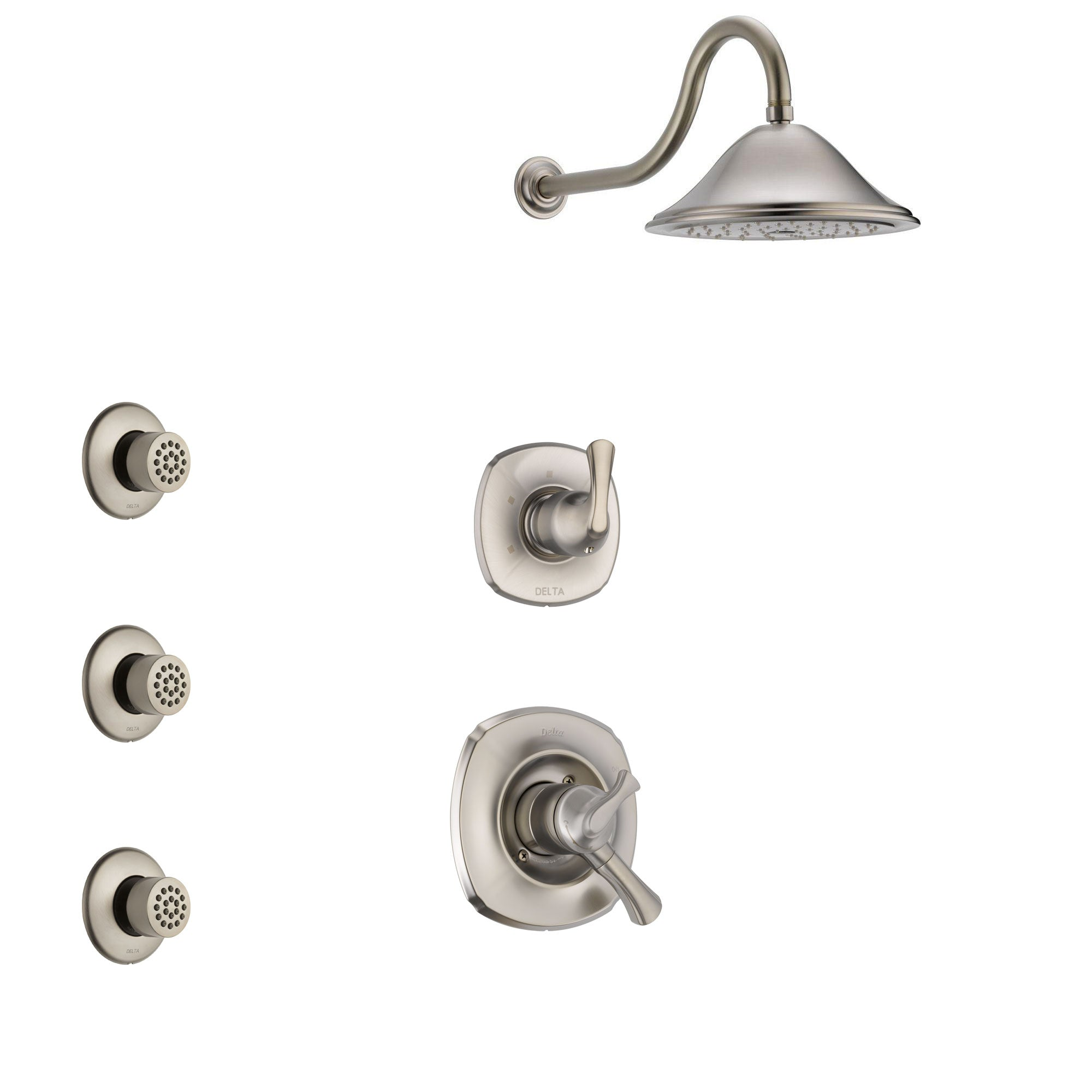 Delta Addison Stainless Steel Finish Shower System with Dual Control Handle, 3-Setting Diverter, Showerhead, and 3 Body Sprays SS1792SS3