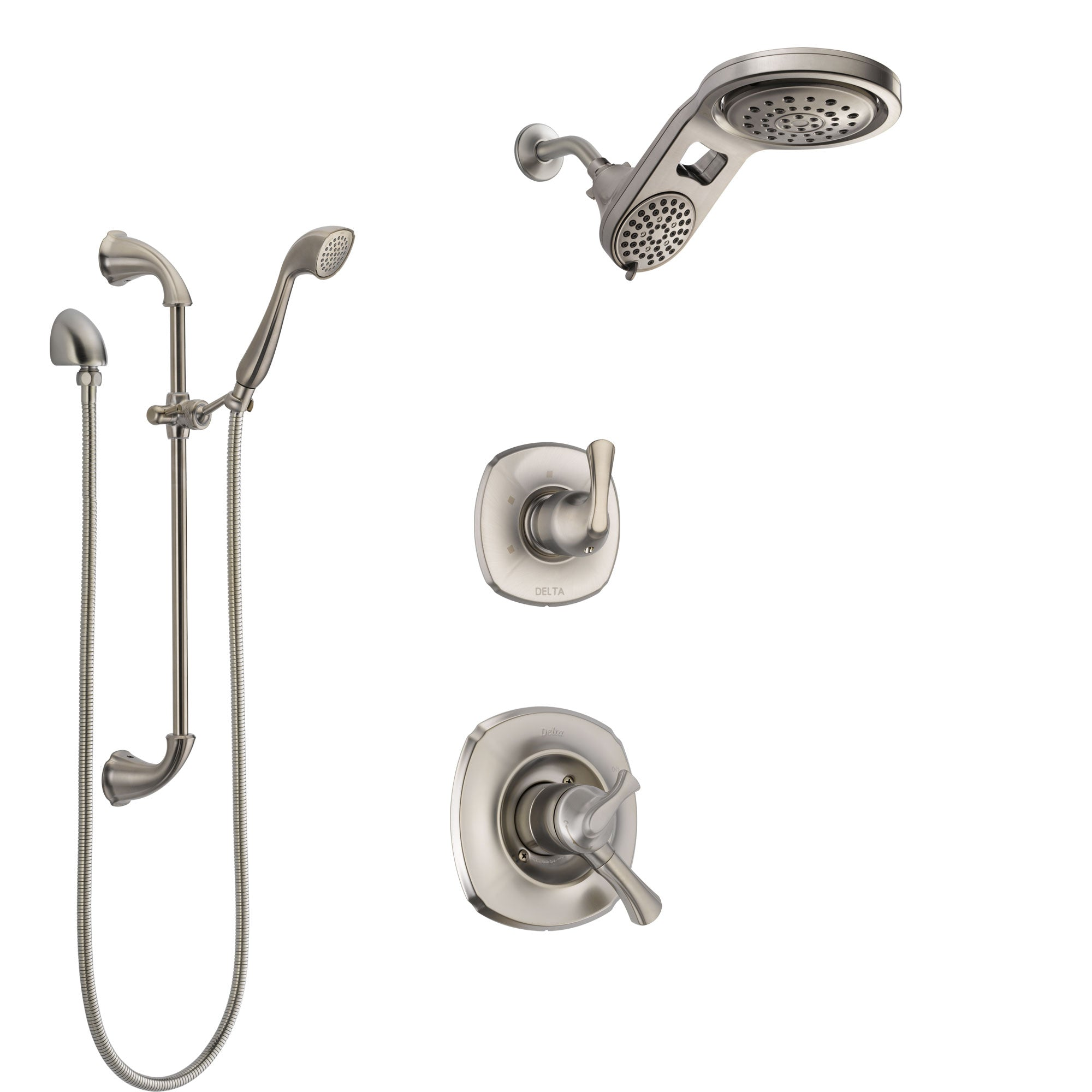 Delta Addison Stainless Steel Finish Shower System with Dual Control Handle, Diverter, Dual Showerhead, and Hand Shower with Slidebar SS1792SS5