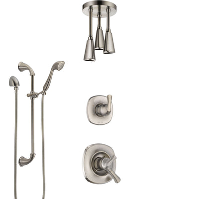 Delta Addison Dual Control Handle Stainless Steel Finish Shower System, Diverter, Ceiling Mount Showerhead, and Hand Shower with Slidebar SS1792SS6