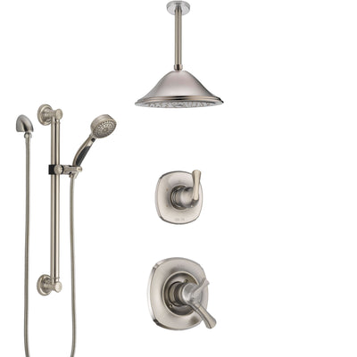 Delta Addison Dual Control Handle Stainless Steel Finish Shower System, Diverter, Ceiling Mount Showerhead, and Hand Shower with Grab Bar SS1792SS8