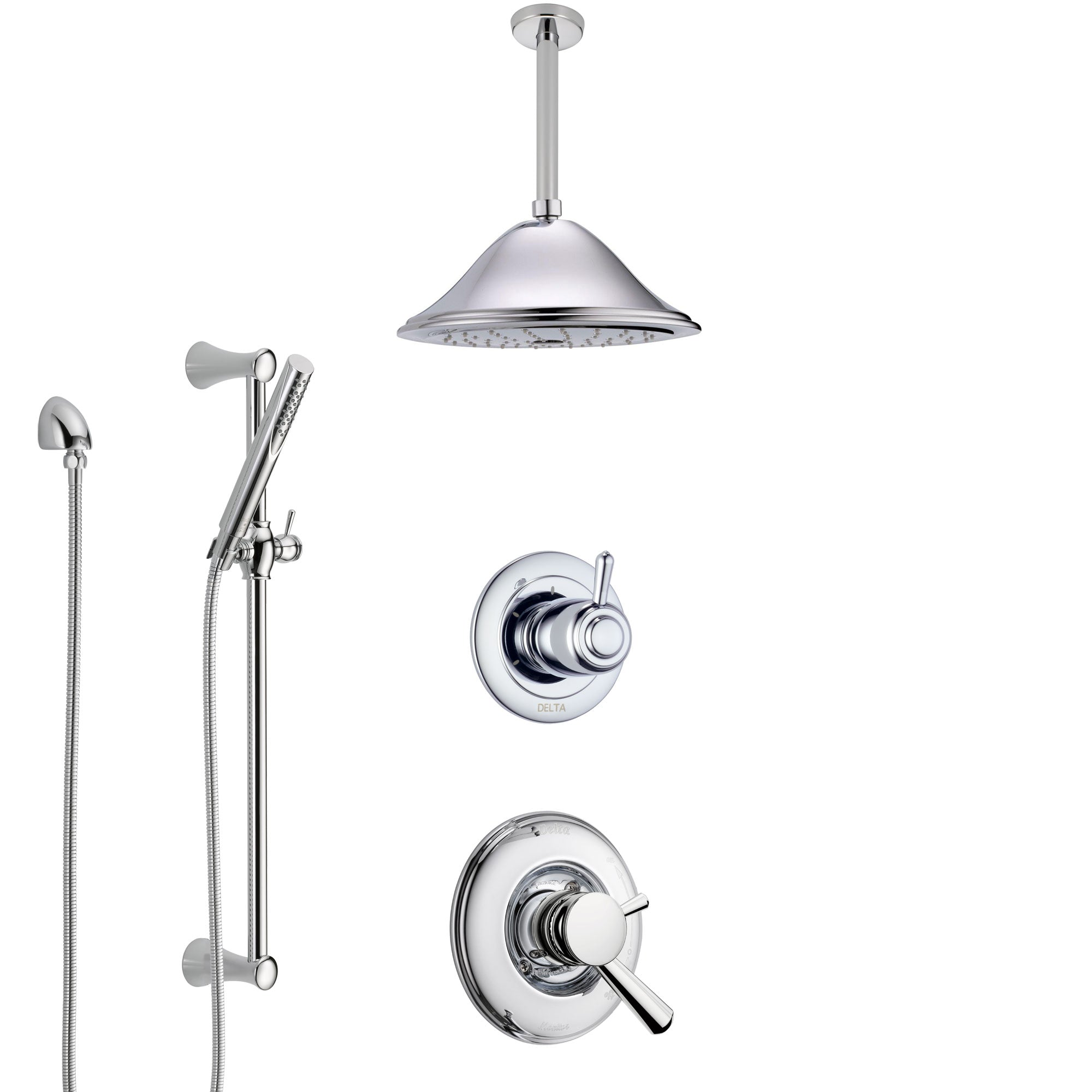 Delta Linden Chrome Finish Shower System with Dual Control Handle, 3-Setting Diverter, Ceiling Mount Showerhead, and Hand Shower with Slidebar SS17931