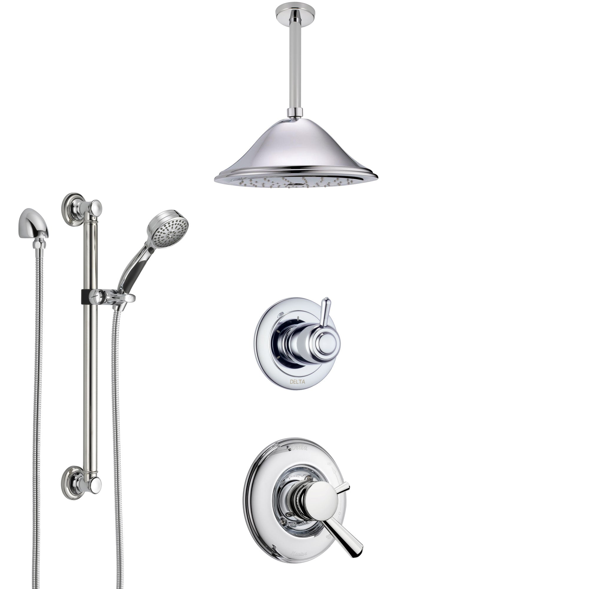 Delta Linden Chrome Finish Shower System with Dual Control Handle, 3-Setting Diverter, Ceiling Mount Showerhead, and Hand Shower with Grab Bar SS17932