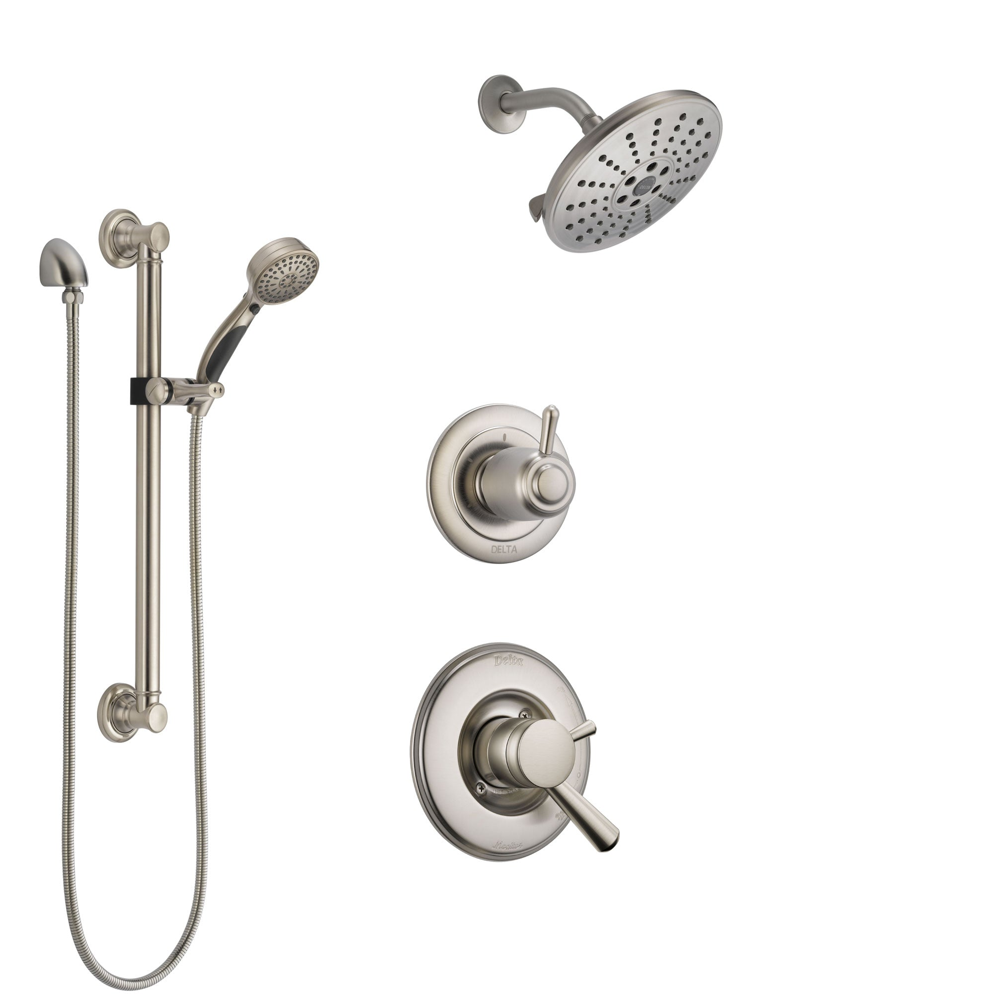Delta Linden Stainless Steel Finish Shower System with Dual Control Handle, 3-Setting Diverter, Showerhead, and Hand Shower with Grab Bar SS1793SS1
