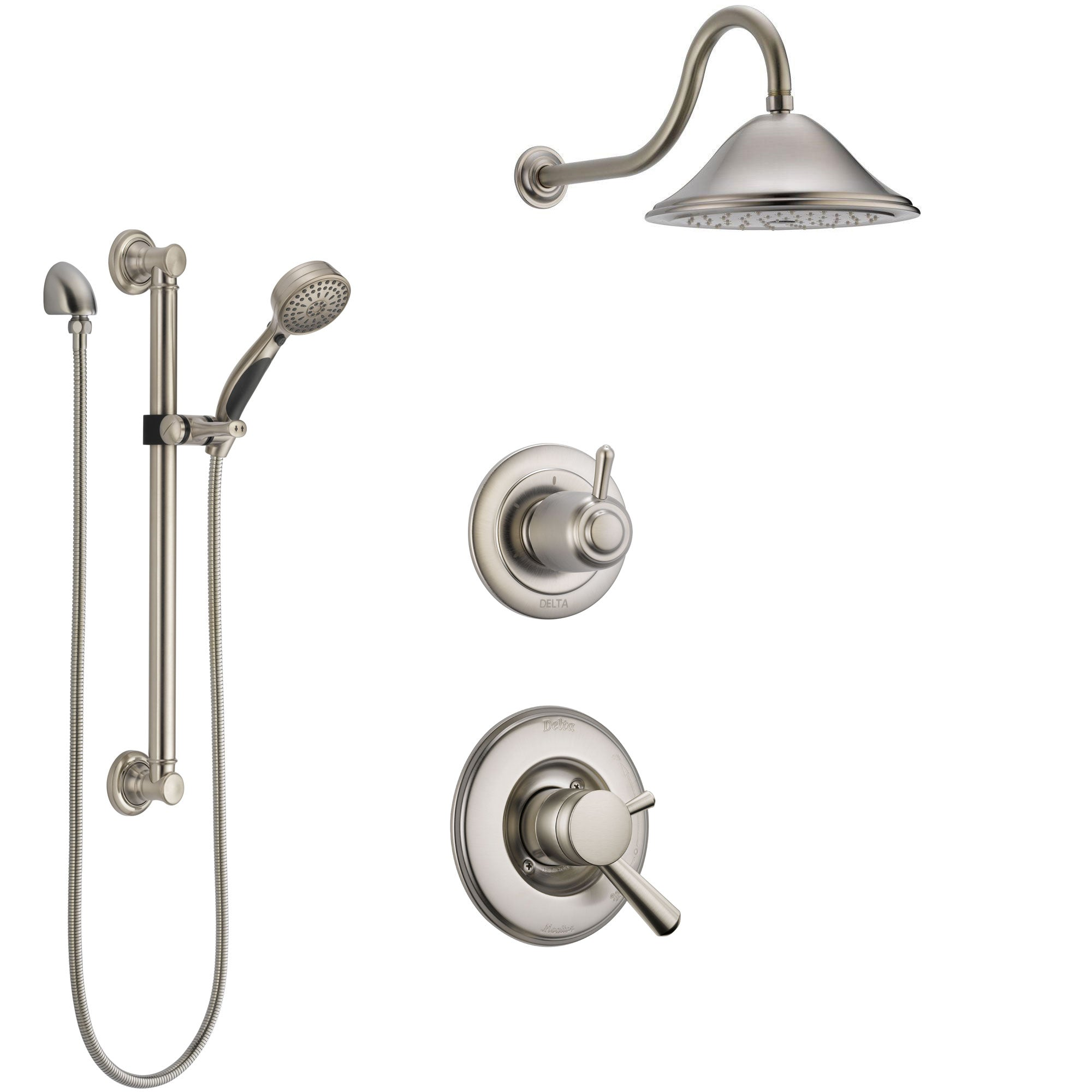 Delta Linden Stainless Steel Finish Shower System with Dual Control Handle, 3-Setting Diverter, Showerhead, and Hand Shower with Grab Bar SS1793SS2