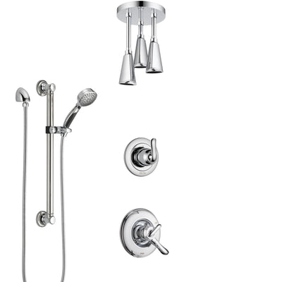 Delta Linden Chrome Finish Shower System with Dual Control Handle, 3-Setting Diverter, Ceiling Mount Showerhead, and Hand Shower with Grab Bar SS17941