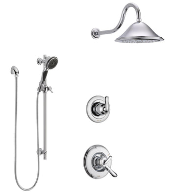 Delta Linden Chrome Finish Shower System with Dual Control Handle, 3-Setting Diverter, Showerhead, and Hand Shower with Slidebar SS17943