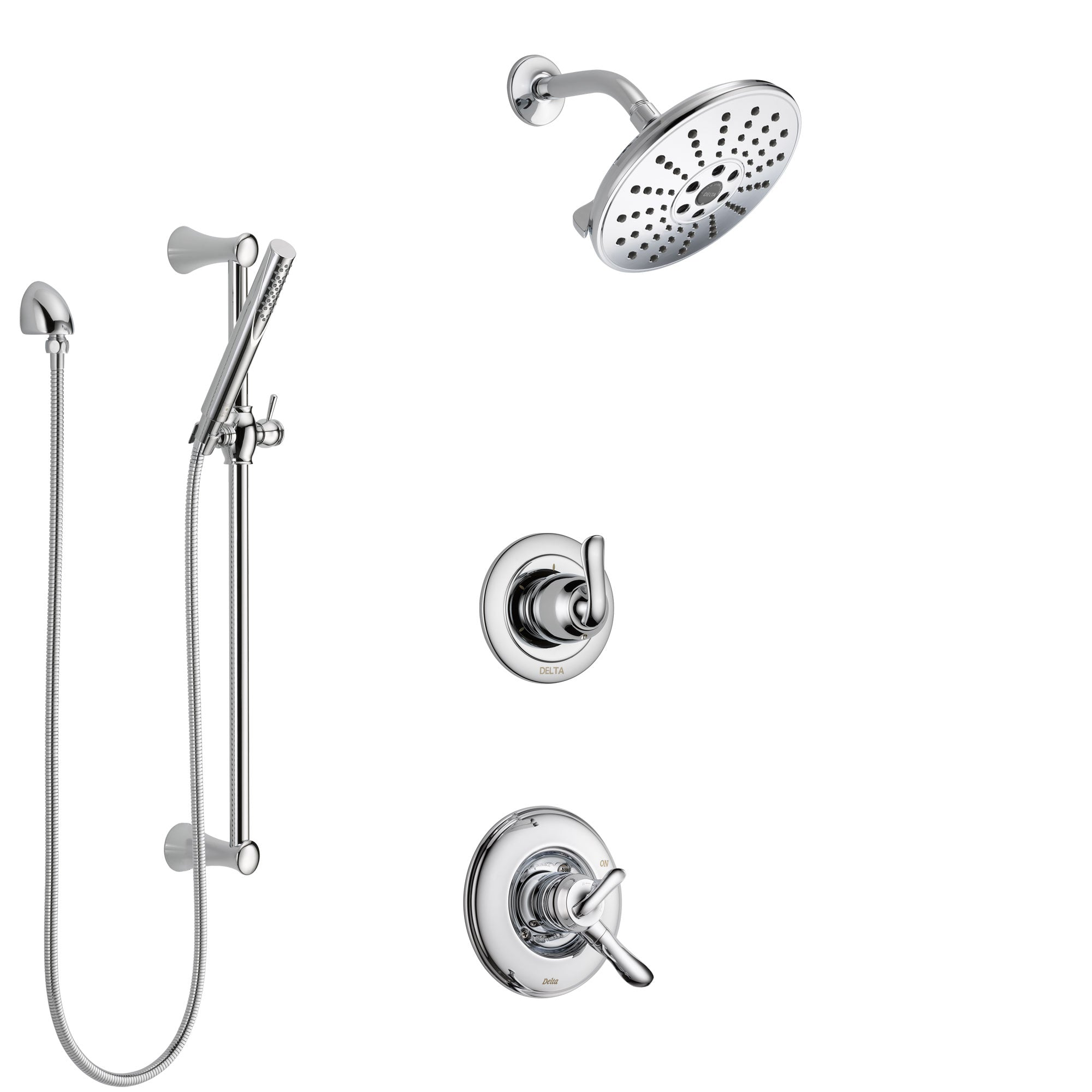 Delta Linden Chrome Finish Shower System with Dual Control Handle, 3-Setting Diverter, Showerhead, and Hand Shower with Slidebar SS17947