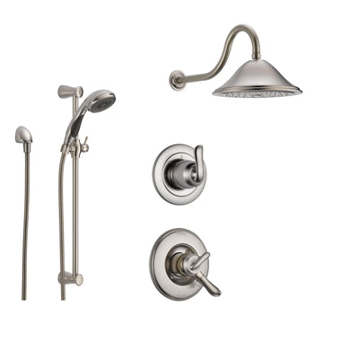 Delta Linden Stainless Steel Shower System with Dual Control Shower Handle, 3-setting Diverter, Large Rain Showerhead, and Handheld Shower SS179481SS
