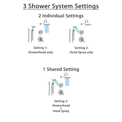 Delta Linden Chrome Shower System with Dual Control Shower Handle, 3-setting Diverter, Large Rain Showerhead, and Handheld Shower SS179481