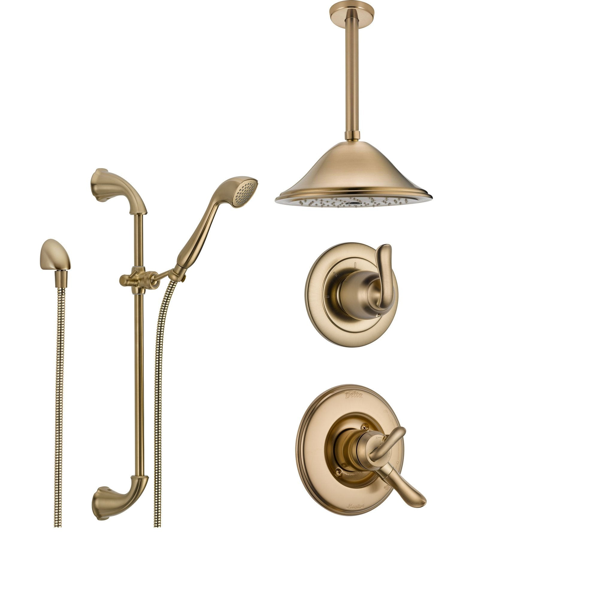 delta linden champagne bronze shower system with dual control shower handle 3setting diverter
