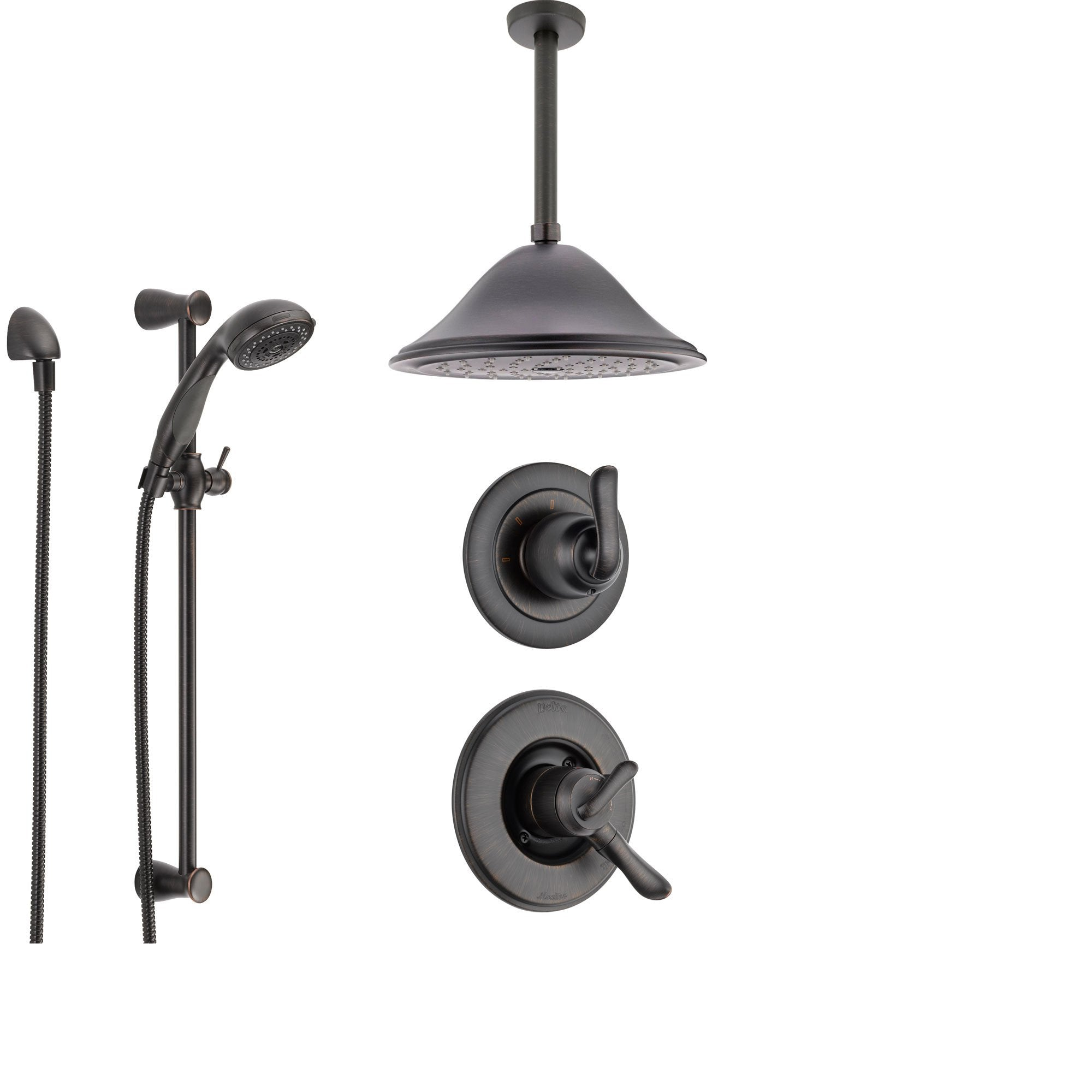 Delta Linden Venetian Bronze Shower System with Dual Control Shower Handle, 3-setting Diverter, Large Ceiling Mount Rain Showerhead, and Handheld Shower SS179482RB