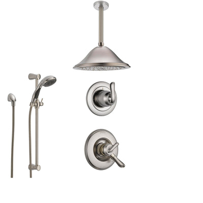 Delta Linden Stainless Steel Shower System with Dual Control Shower Handle, 3-setting Diverter, Large Ceiling Mount Rain Showerhead, and Handheld Shower SS179482SS