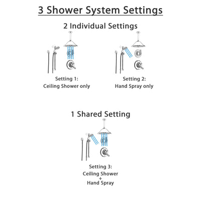 Delta Linden Chrome Shower System with Dual Control Shower Handle, 3-setting Diverter, Large Ceiling Mount Rain Showerhead, and Handheld Shower SS179482