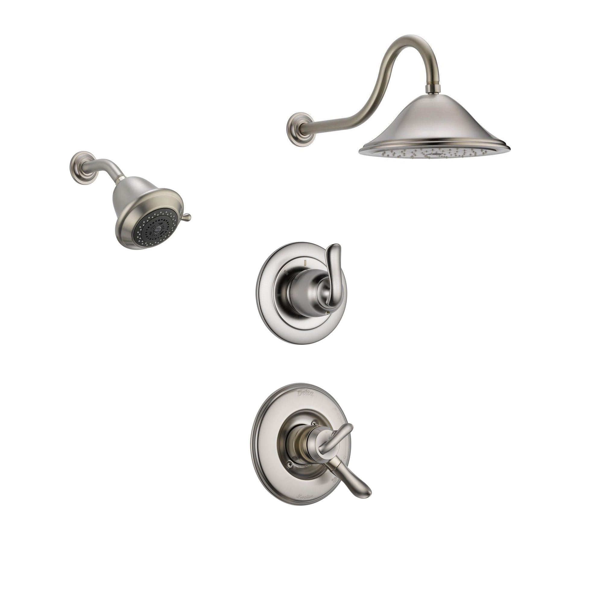 Delta Linden Stainless Steel Shower System with Dual Control Shower Handle, 3-setting Diverter, Large Rain Showerhead, and Smaller Wall Mount Showerhead SS179485SS