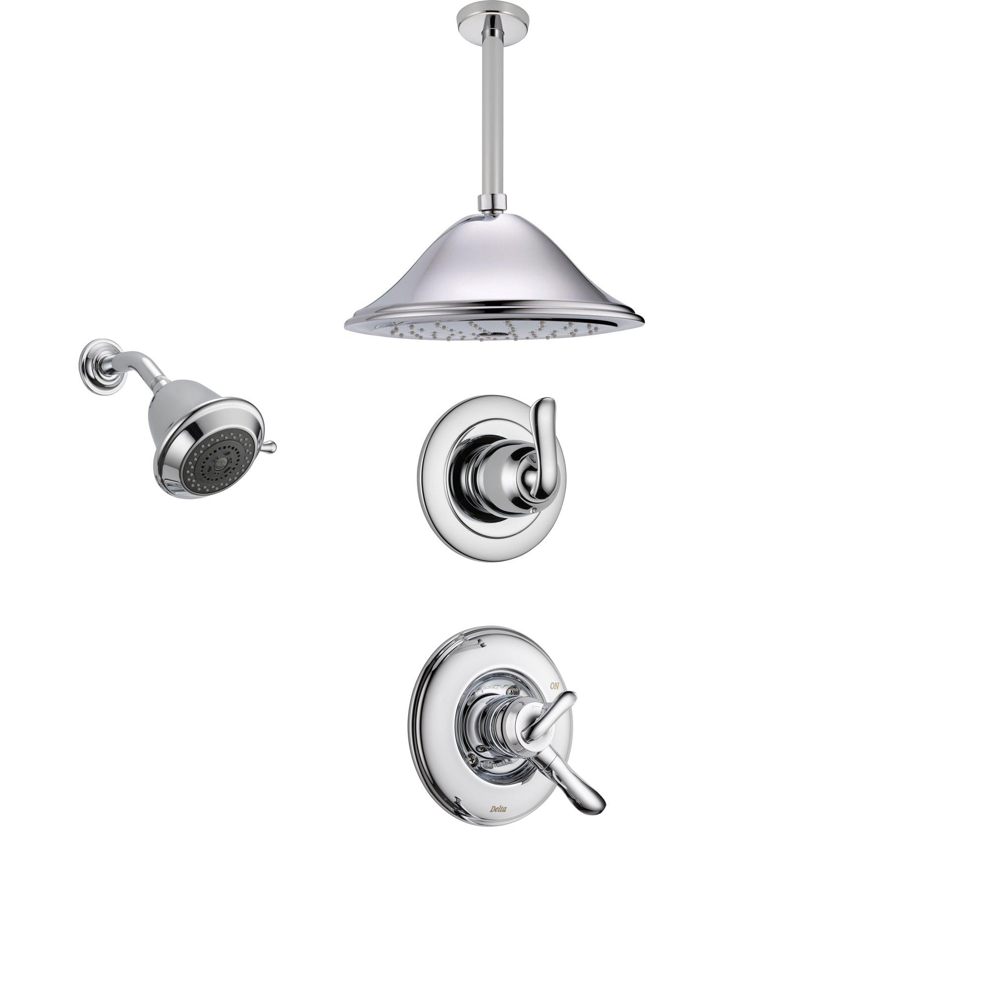 Delta Linden Chrome Shower System with Dual Control Shower Handle, 3-setting Diverter, Large Ceiling Mount Rain Shower Head, and Wall Mount Showerhead SS179485
