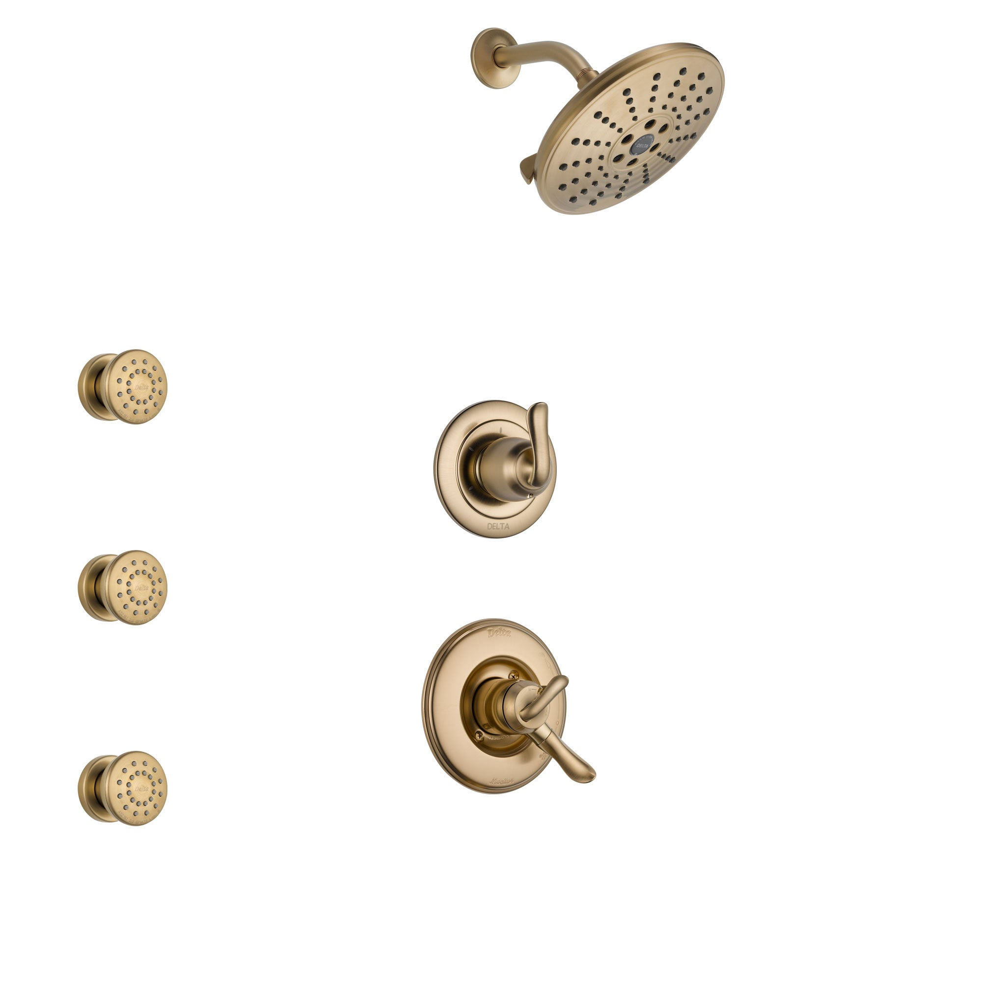Delta Linden Champagne Bronze Finish Shower System with Dual Control Handle, 3-Setting Diverter, Showerhead, and 3 Body Sprays SS1794CZ4