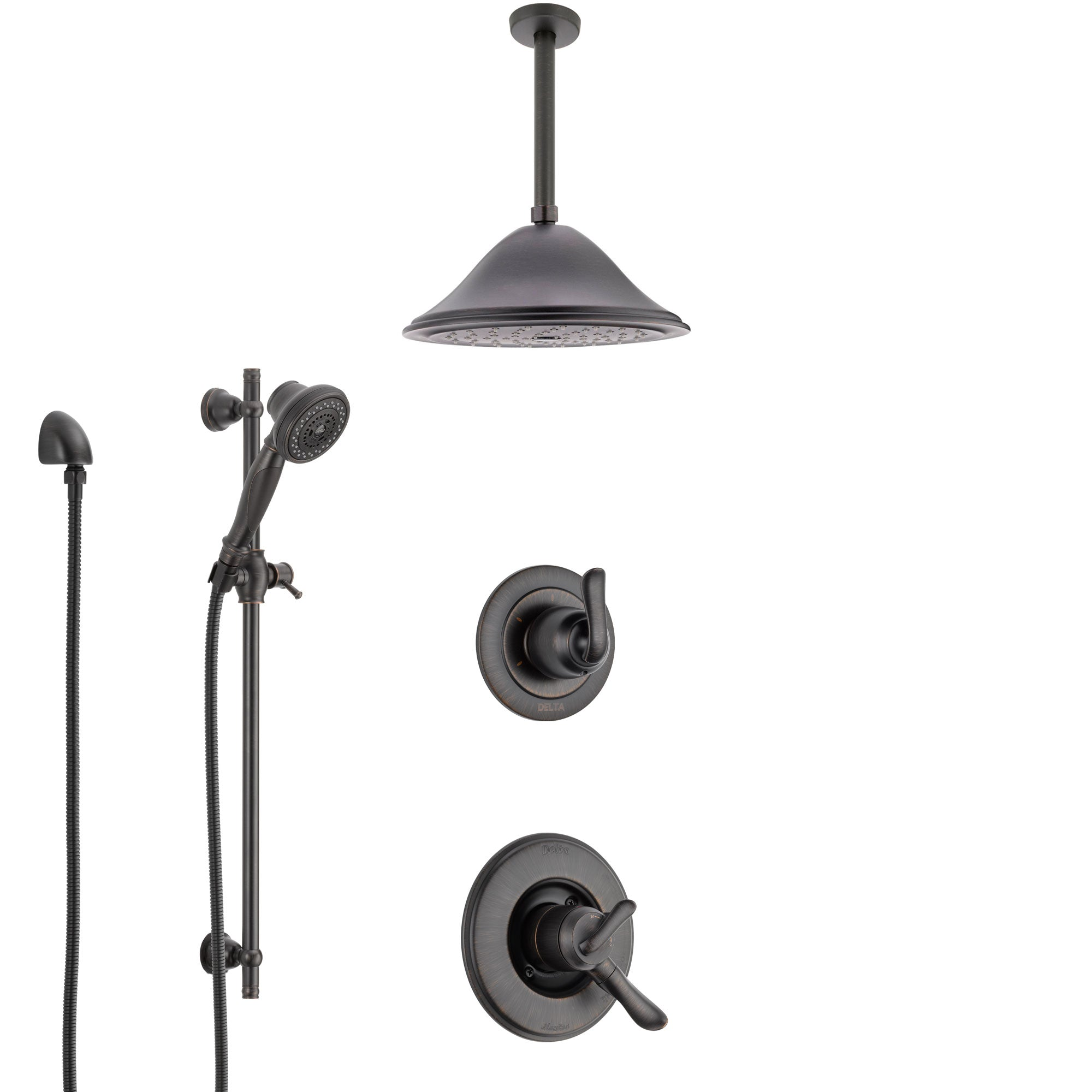 Delta Linden Venetian Bronze Shower System with Dual Control Handle, Diverter, Ceiling Mount Showerhead, and Hand Shower with Slidebar SS1794RB4