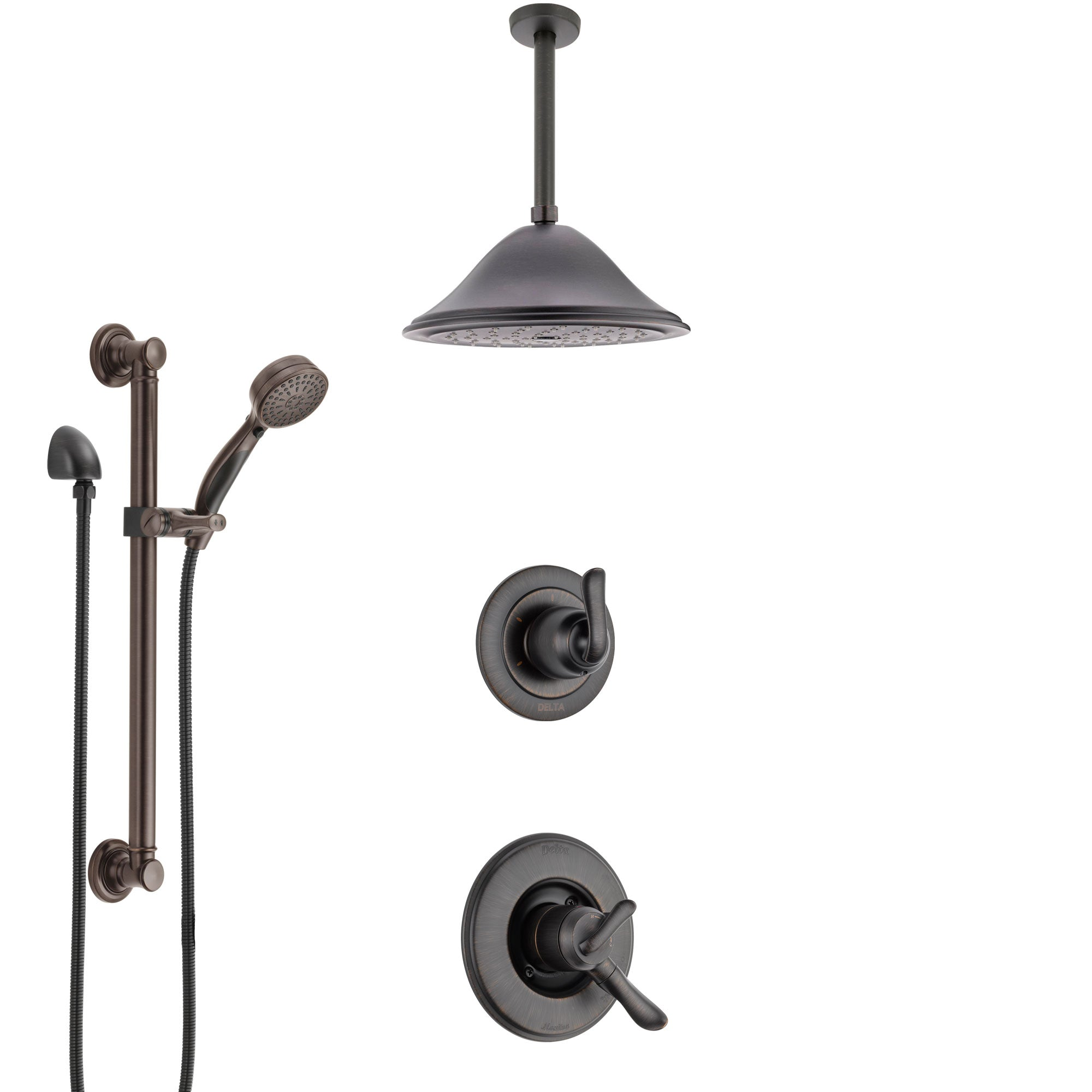 Delta Linden Venetian Bronze Shower System with Dual Control Handle, Diverter, Ceiling Mount Showerhead, and Hand Shower with Grab Bar SS1794RB5