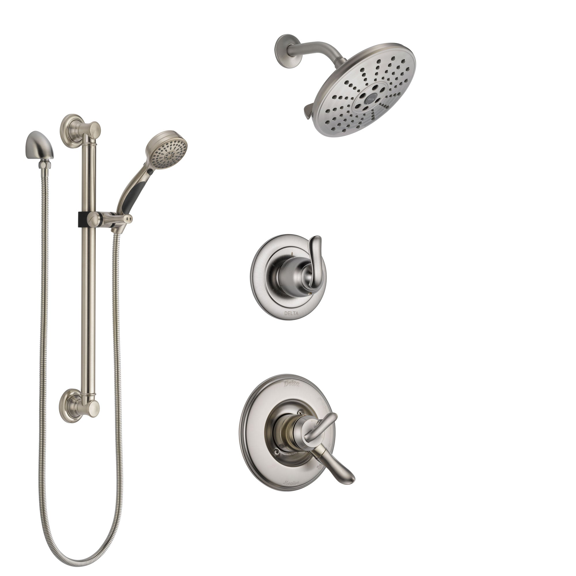 Delta Linden Stainless Steel Finish Shower System with Dual Control Handle, 3-Setting Diverter, Showerhead, and Hand Shower with Grab Bar SS1794SS1
