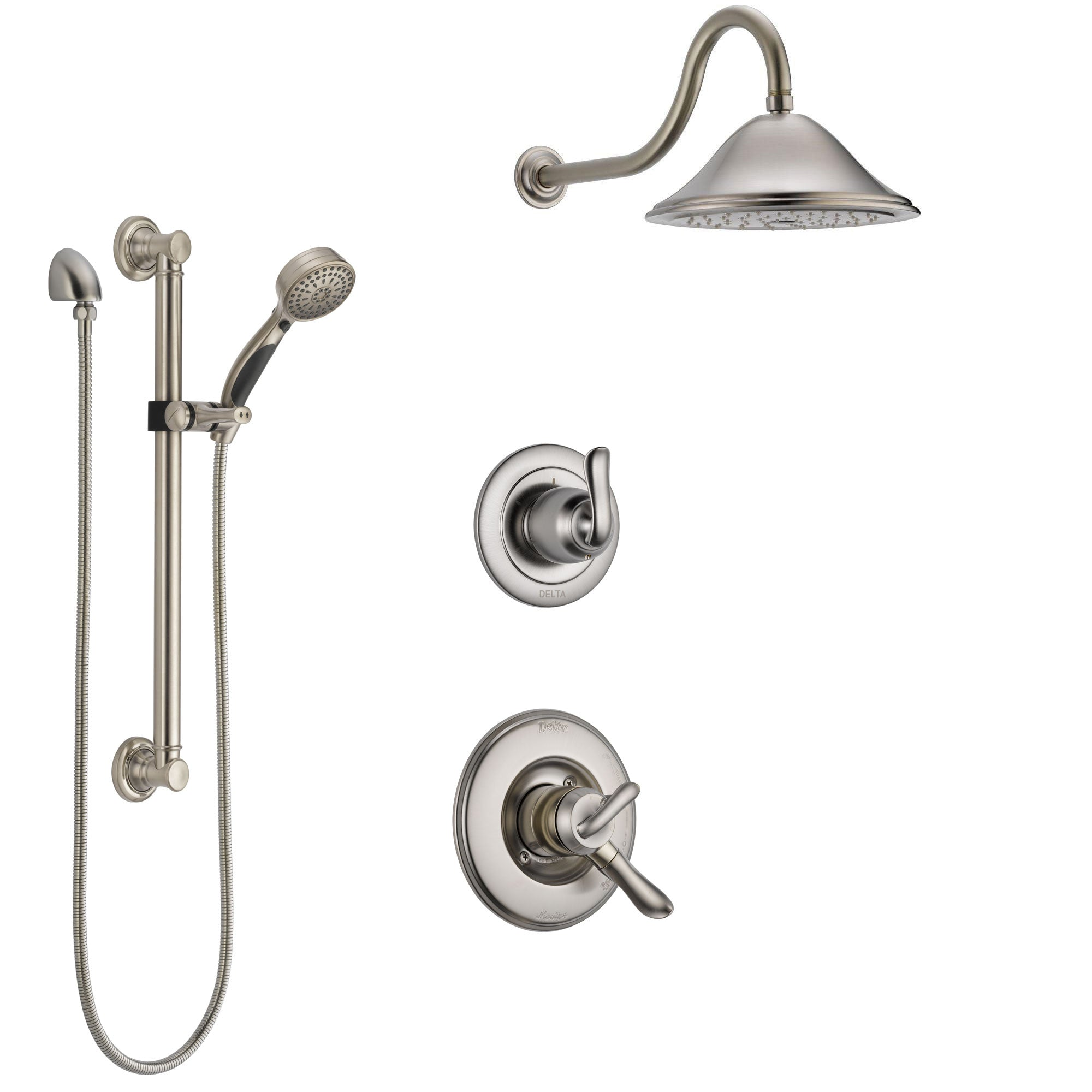Delta Linden Stainless Steel Finish Shower System with Dual Control Handle, 3-Setting Diverter, Showerhead, and Hand Shower with Grab Bar SS1794SS2