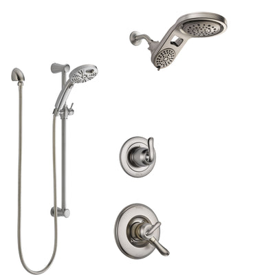 Delta Linden Stainless Steel Finish Shower System with Dual Control Handle, Diverter, Dual Showerhead, and Temp2O Hand Shower with Slidebar SS1794SS5