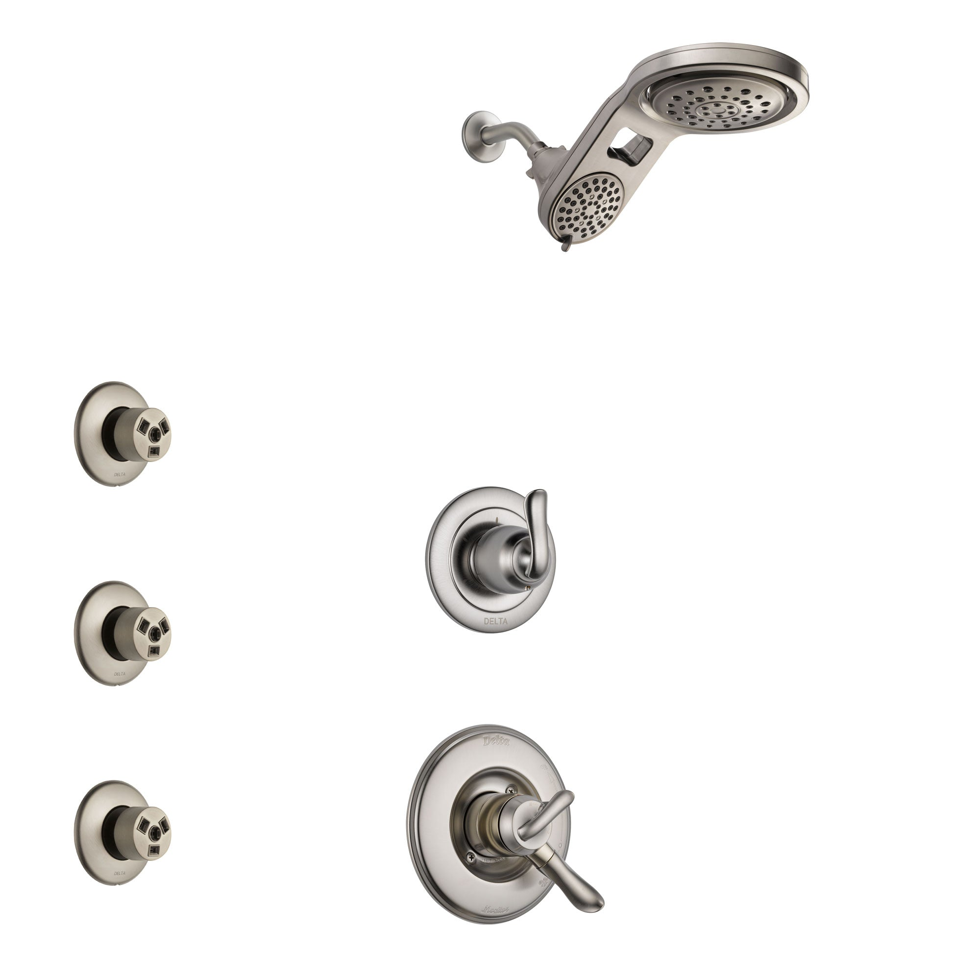 Delta Linden Stainless Steel Finish Shower System with Dual Control Handle, 3-Setting Diverter, Dual Showerhead, and 3 Body Sprays SS1794SS6