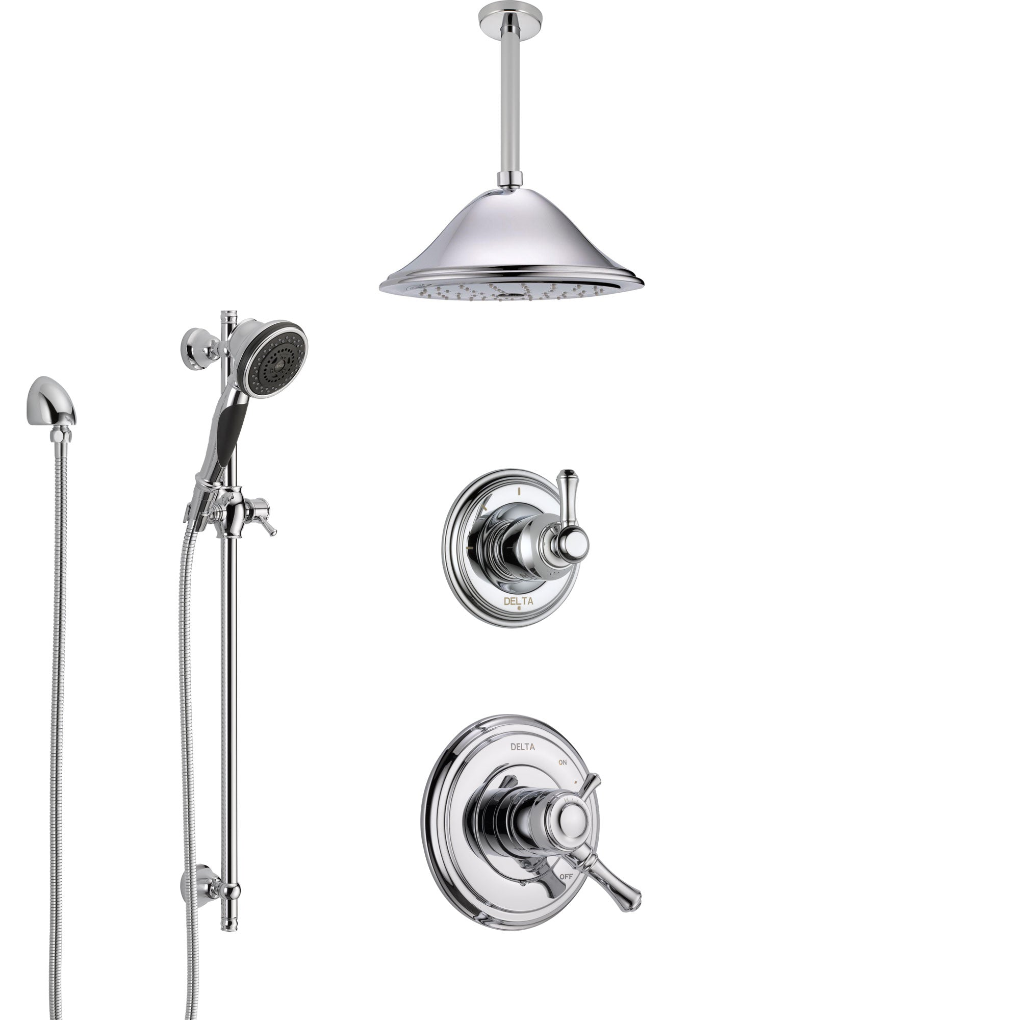 Delta Cassidy Chrome Finish Shower System with Dual Control Handle, Diverter, Ceiling Mount Showerhead, and Hand Shower with Slidebar SS17973