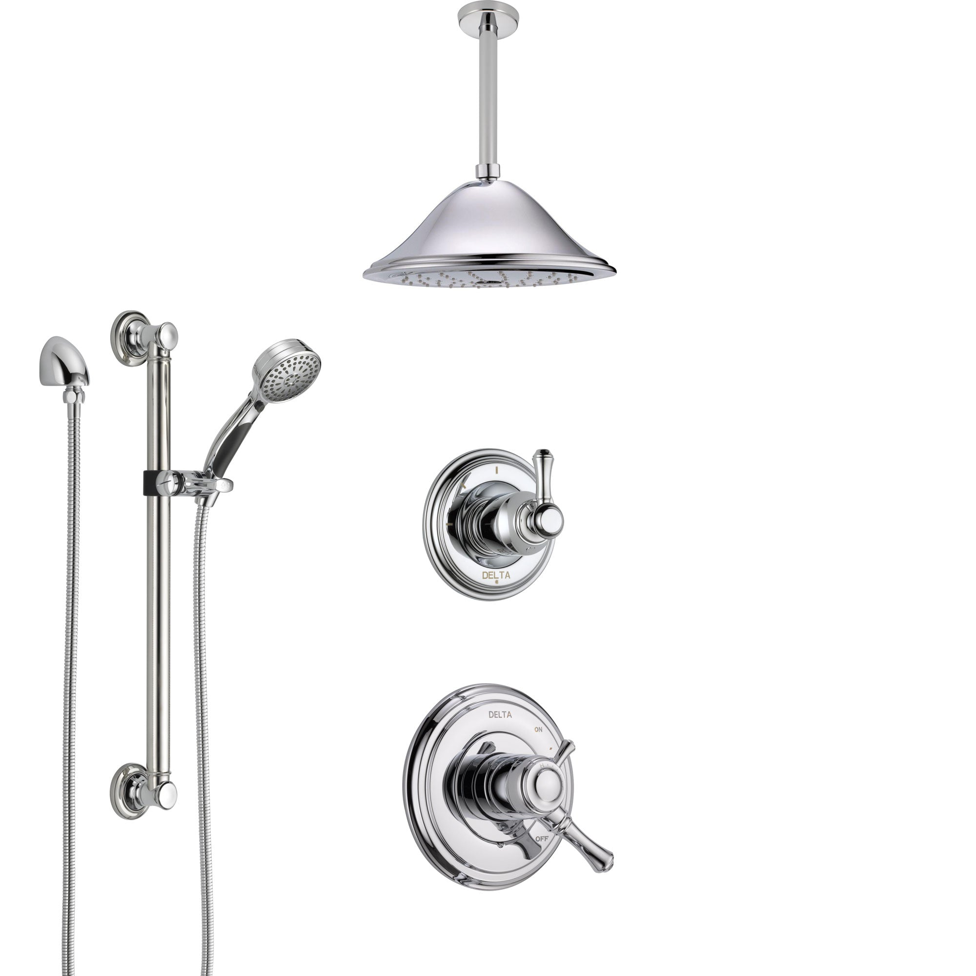 Delta Cassidy Chrome Finish Shower System with Dual Control Handle, Diverter, Ceiling Mount Showerhead, and Hand Shower with Grab Bar SS17974