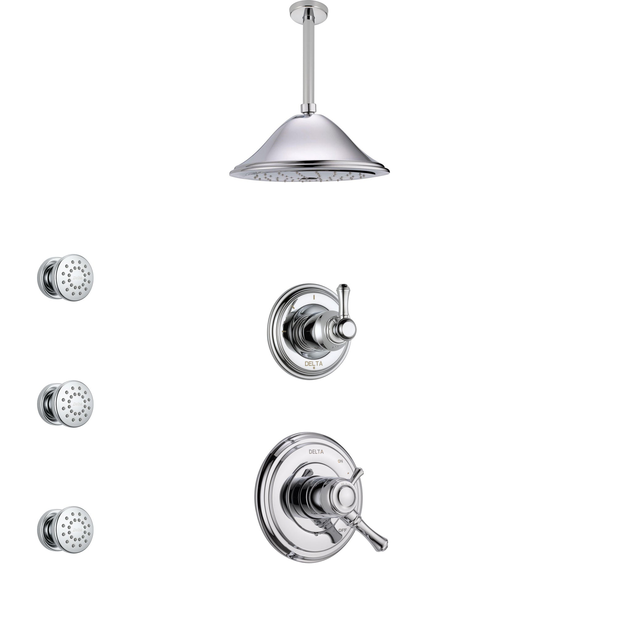 Delta Cassidy Chrome Finish Shower System with Dual Control Handle, 3-Setting Diverter, Ceiling Mount Showerhead, and 3 Body Sprays SS17975