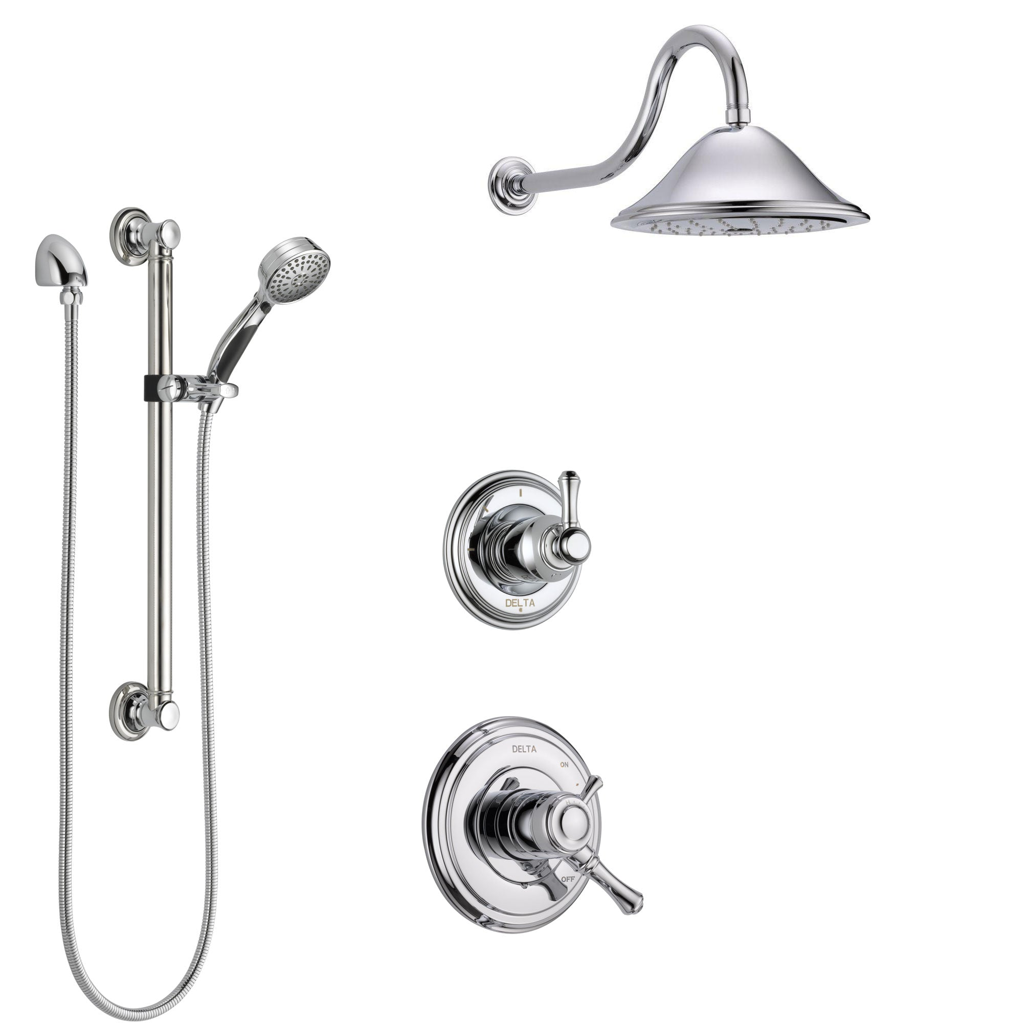 Delta Cassidy Chrome Finish Shower System with Dual Control Handle, 3-Setting Diverter, Showerhead, and Hand Shower with Grab Bar SS17976